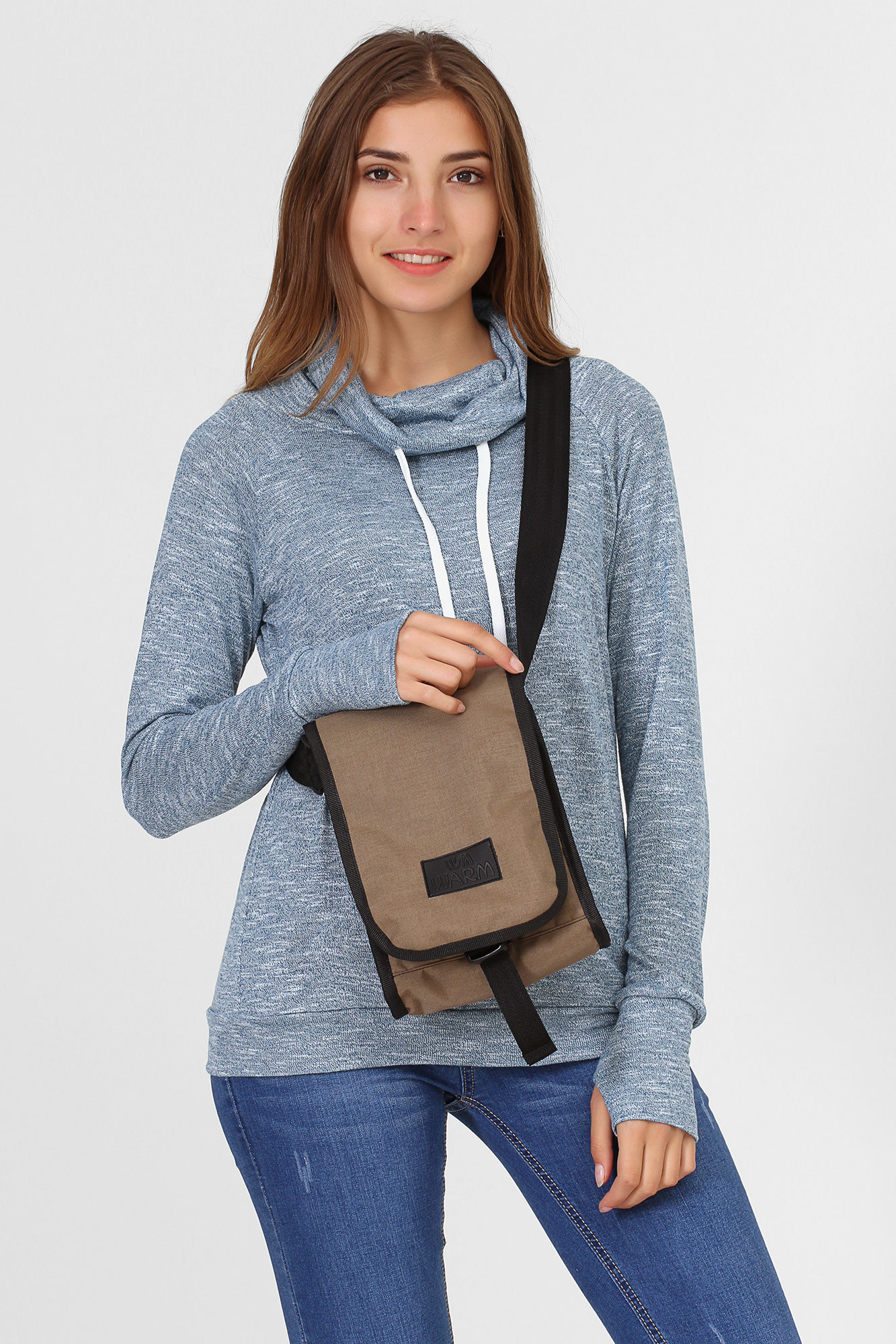 Однотонная сумка Мессенджер на плечо хаки