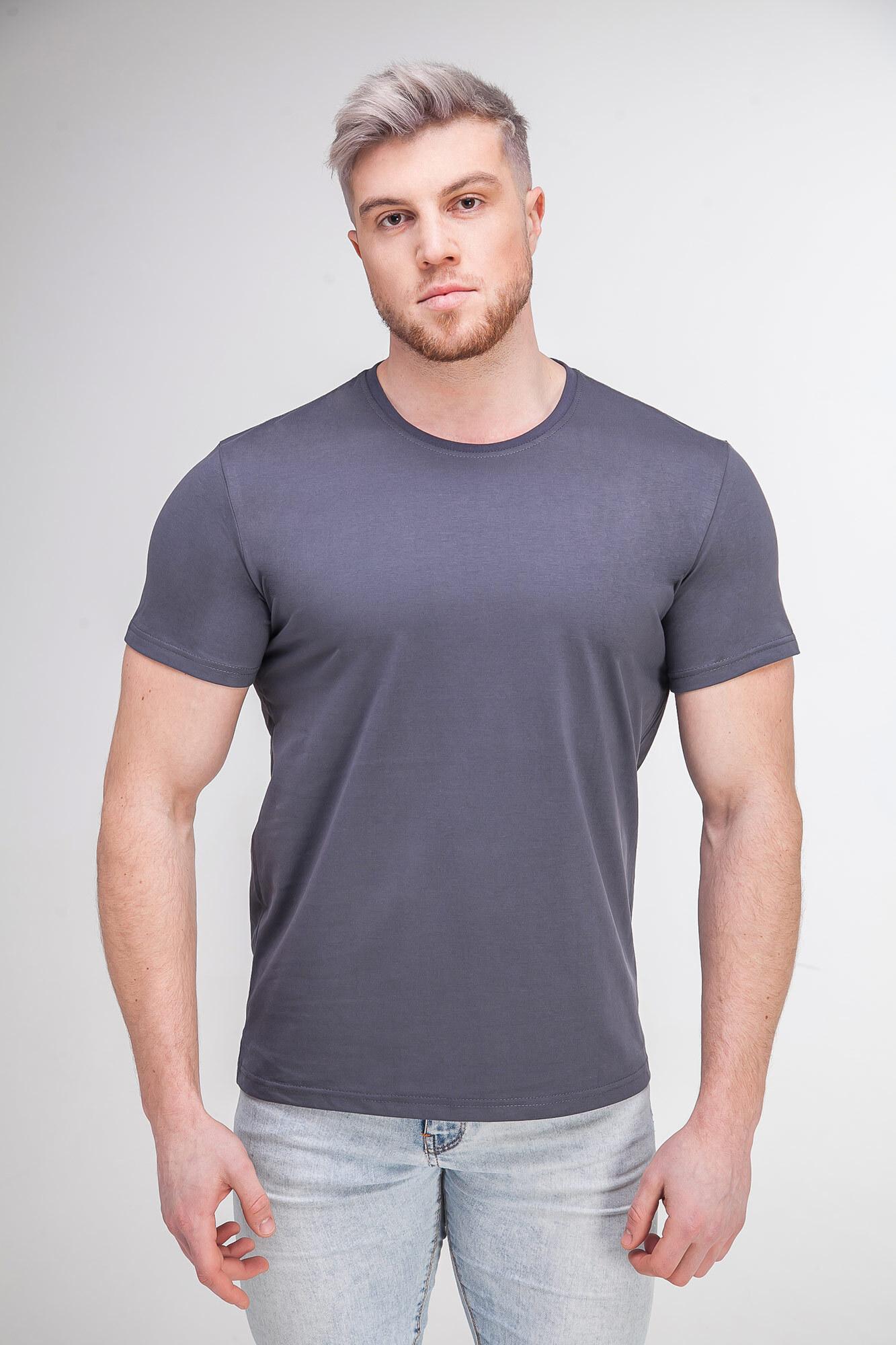 Однотонная базовая футболка серого цвета