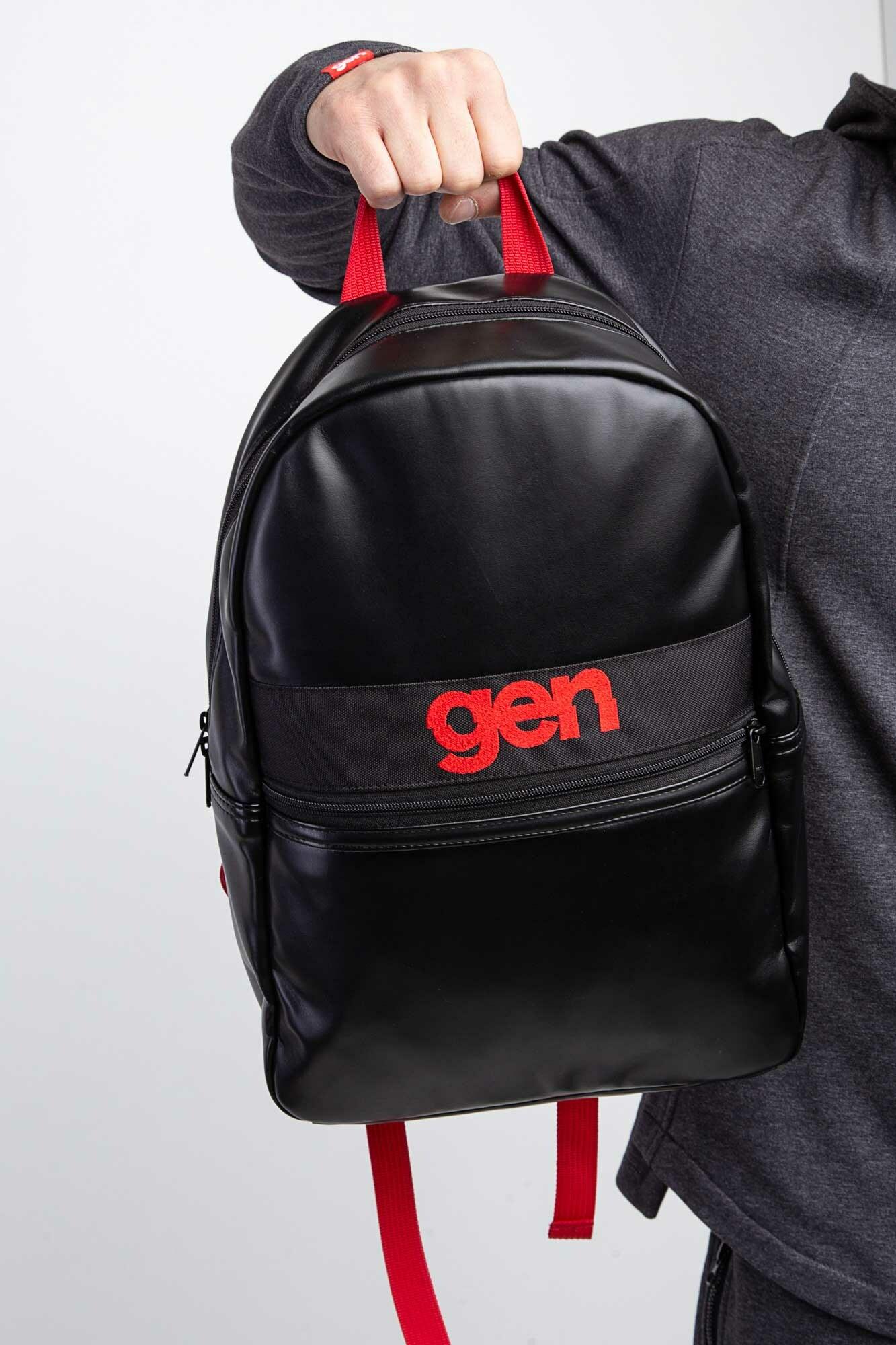 GEN Черный городской рюкзак с карманом на молнии
