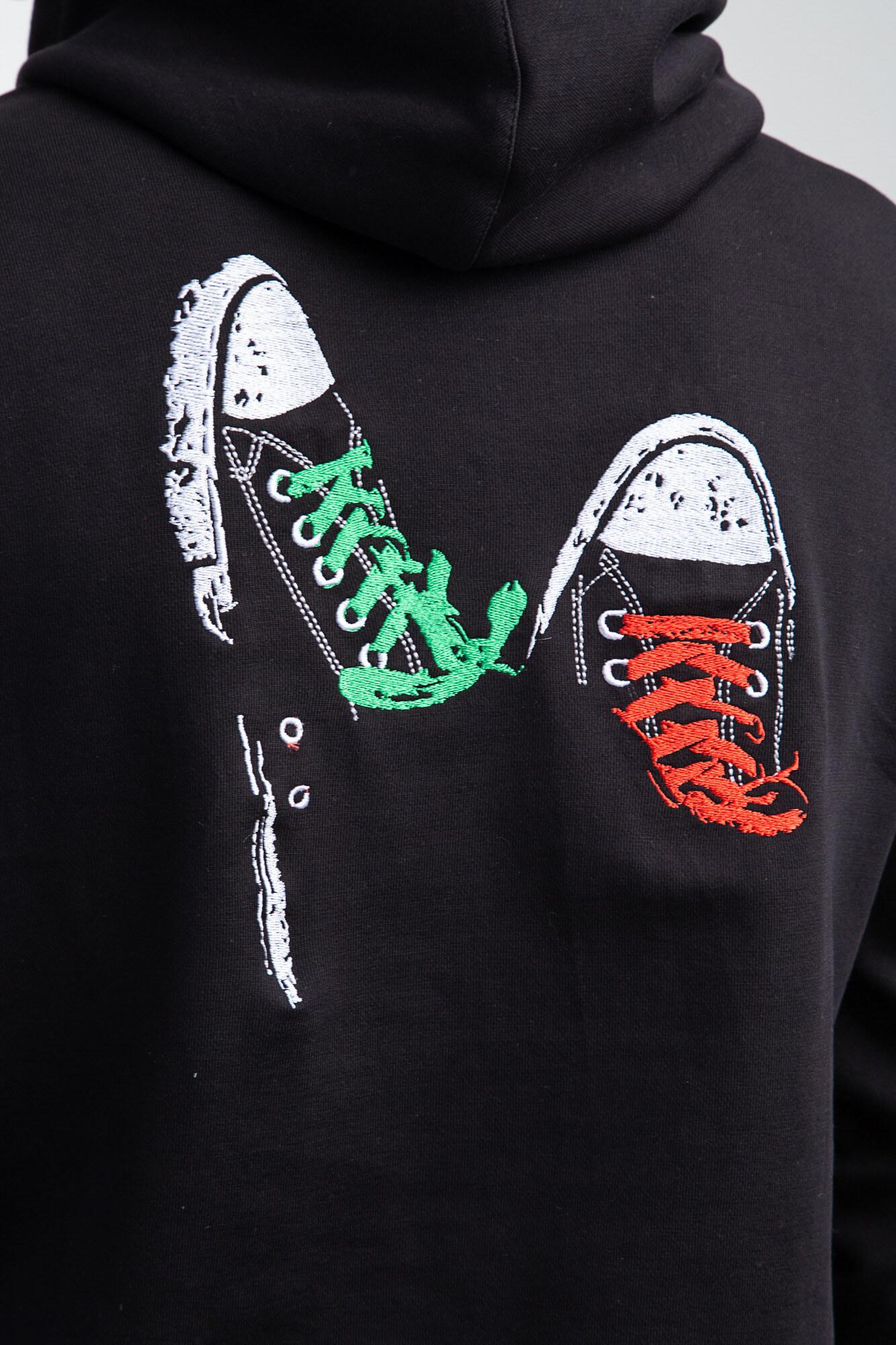 GEN Черная трикотажная толстовка с капюшоном и вышивкой на спине - Фото 4