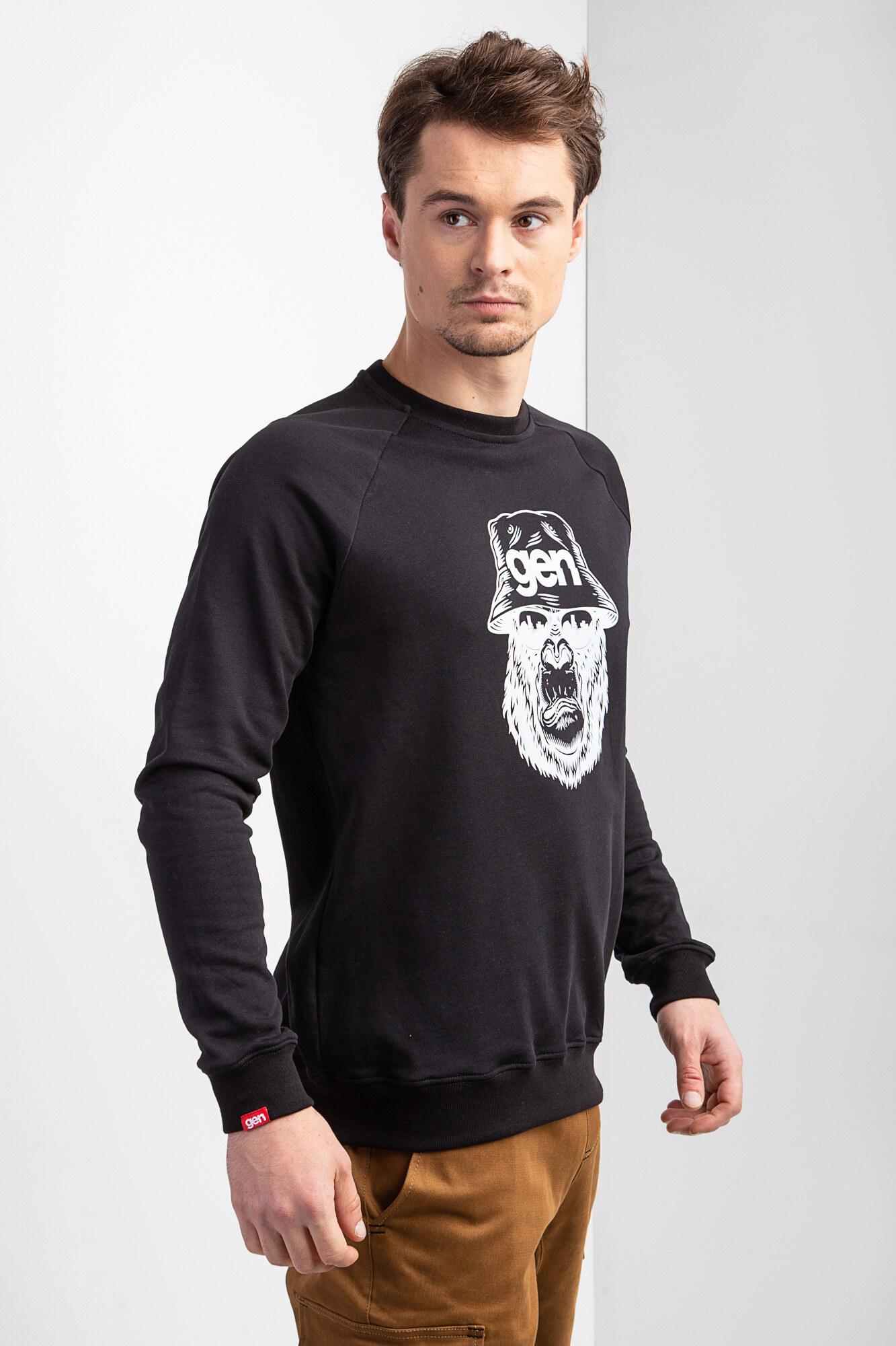Трикотажный черный свитшот реглан с белым принтом - Фото 1