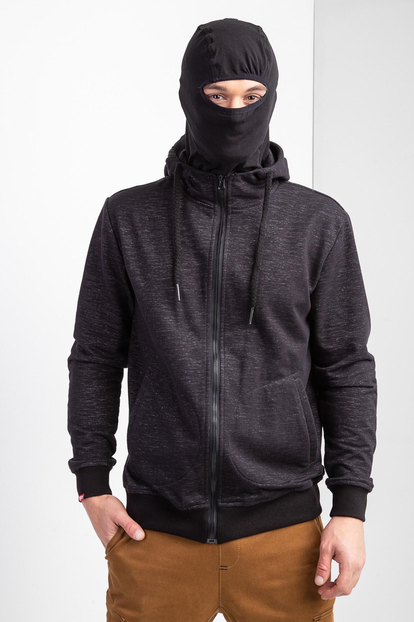 Черная хлопковая кофта зиппер с капюшоном