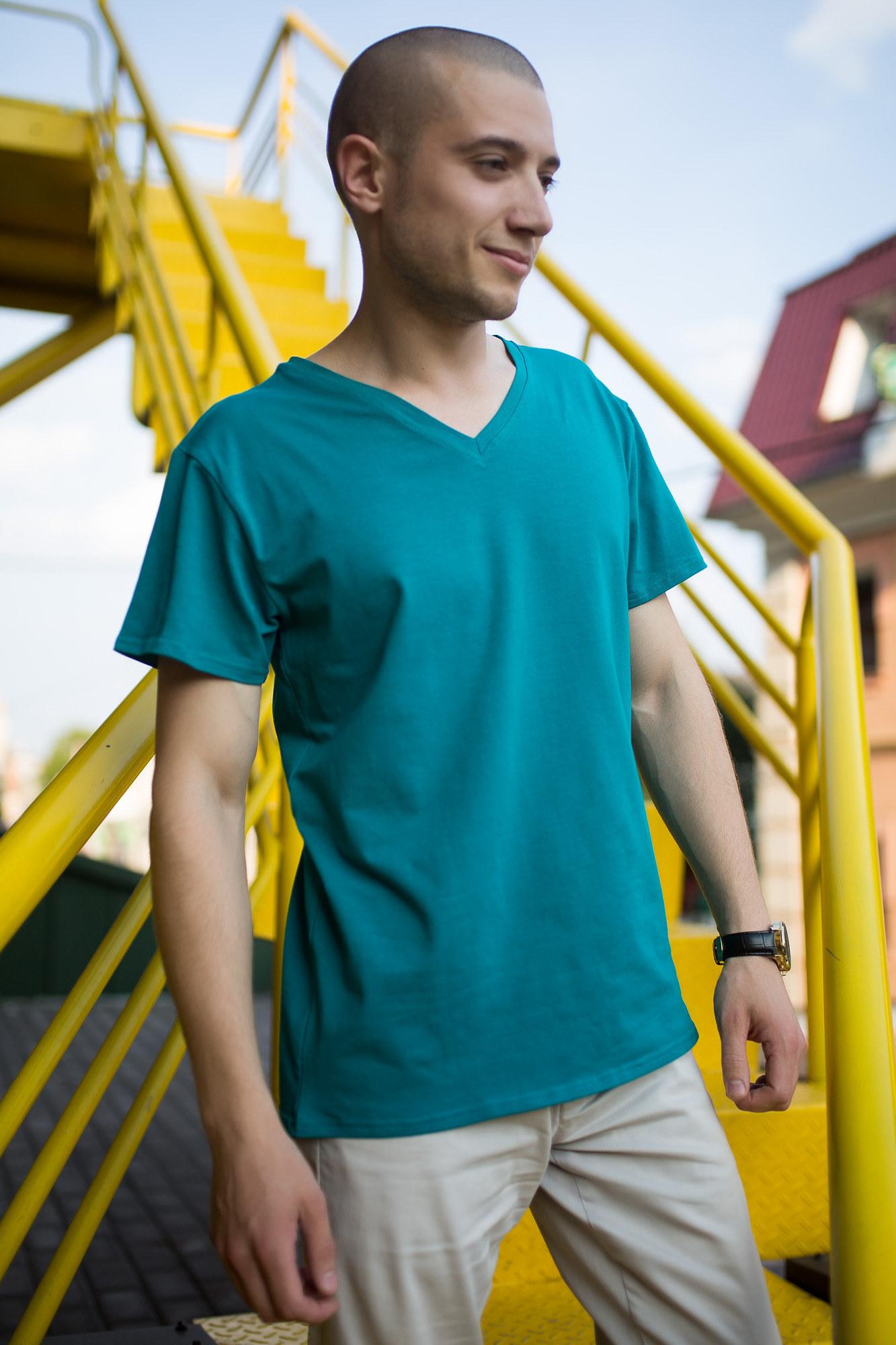 GEN Бирюзовая футболка с V-образным вырезом