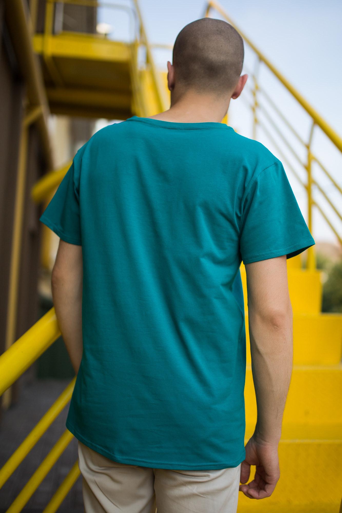 GEN Бирюзовая футболка с V-образным вырезом - Фото 2