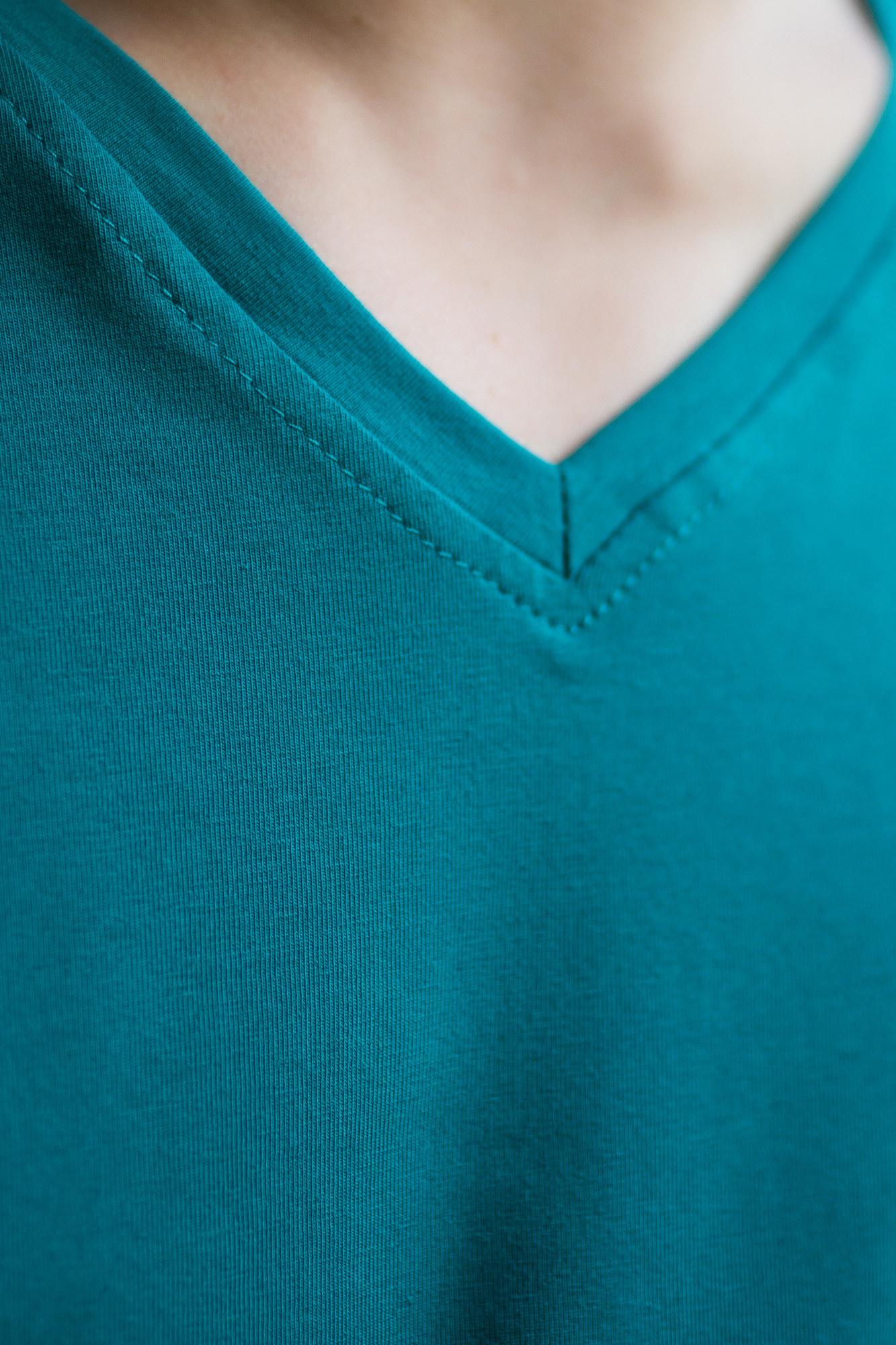 GEN Бирюзовая футболка с V-образным вырезом - Фото 3