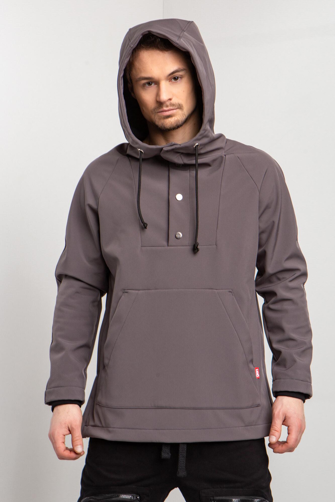 Серая куртка анорак с начесом для весны с капюшоном и большим карманом кенгуру