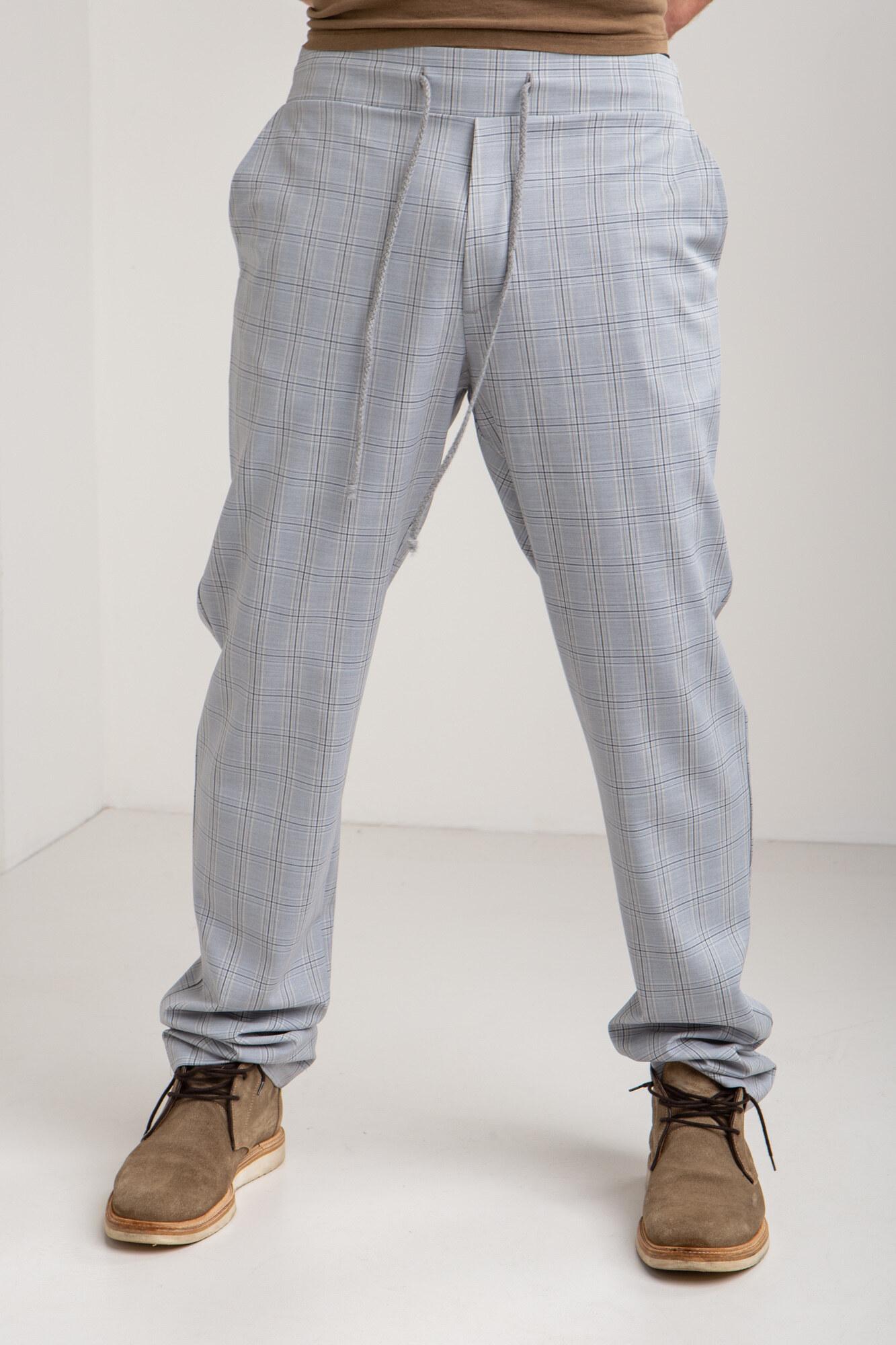 GEN Хлопковые брюки в спортивном стиле серого цвета в клетку GEN