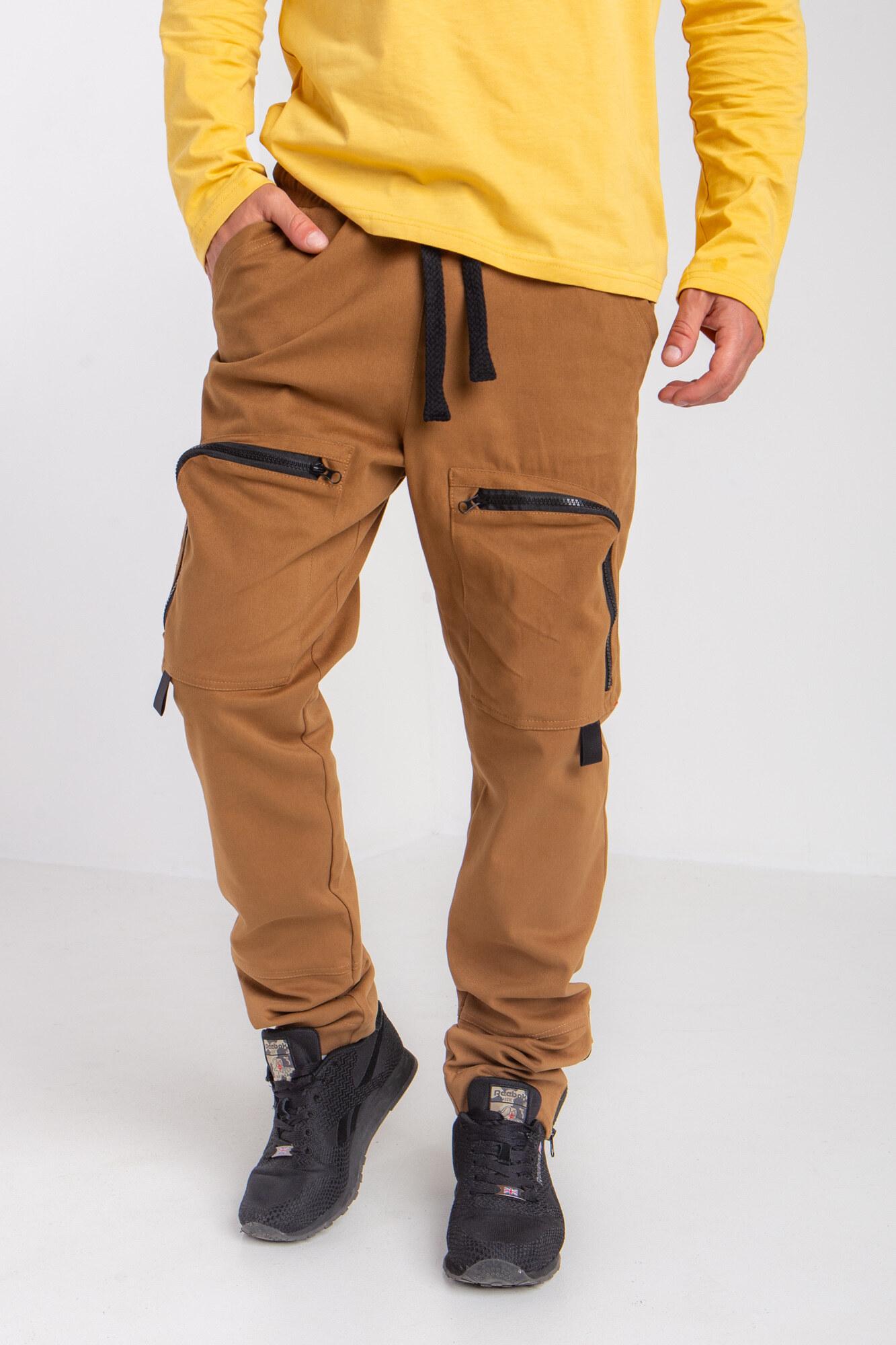 Коттоновые штаны карго с наколенниками и большими карманами