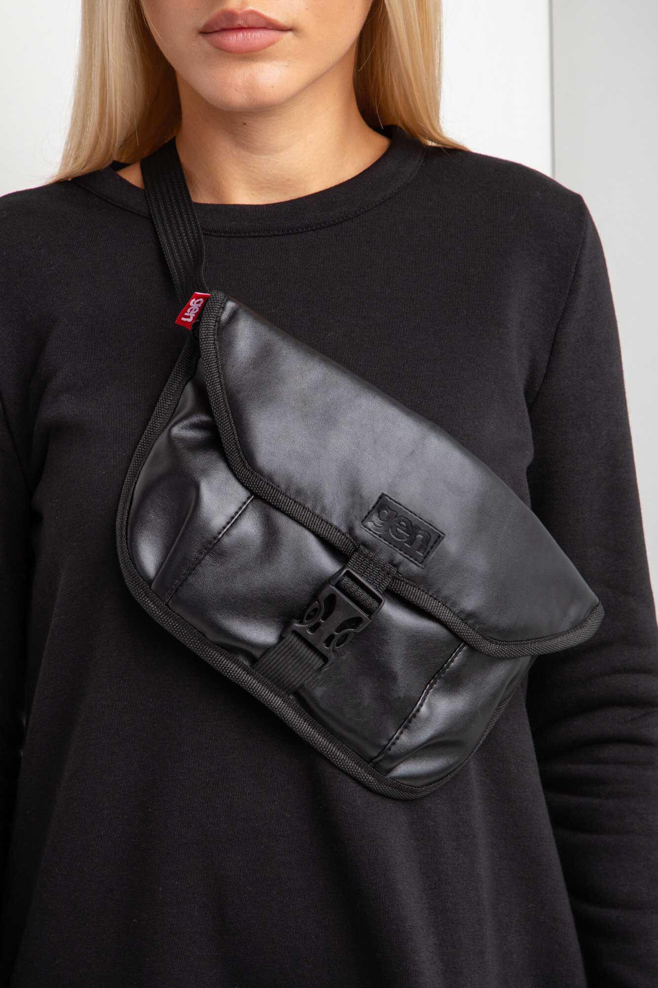 GEN Прямоугольная поясная сумка бананка из черного кожзама с клапаном