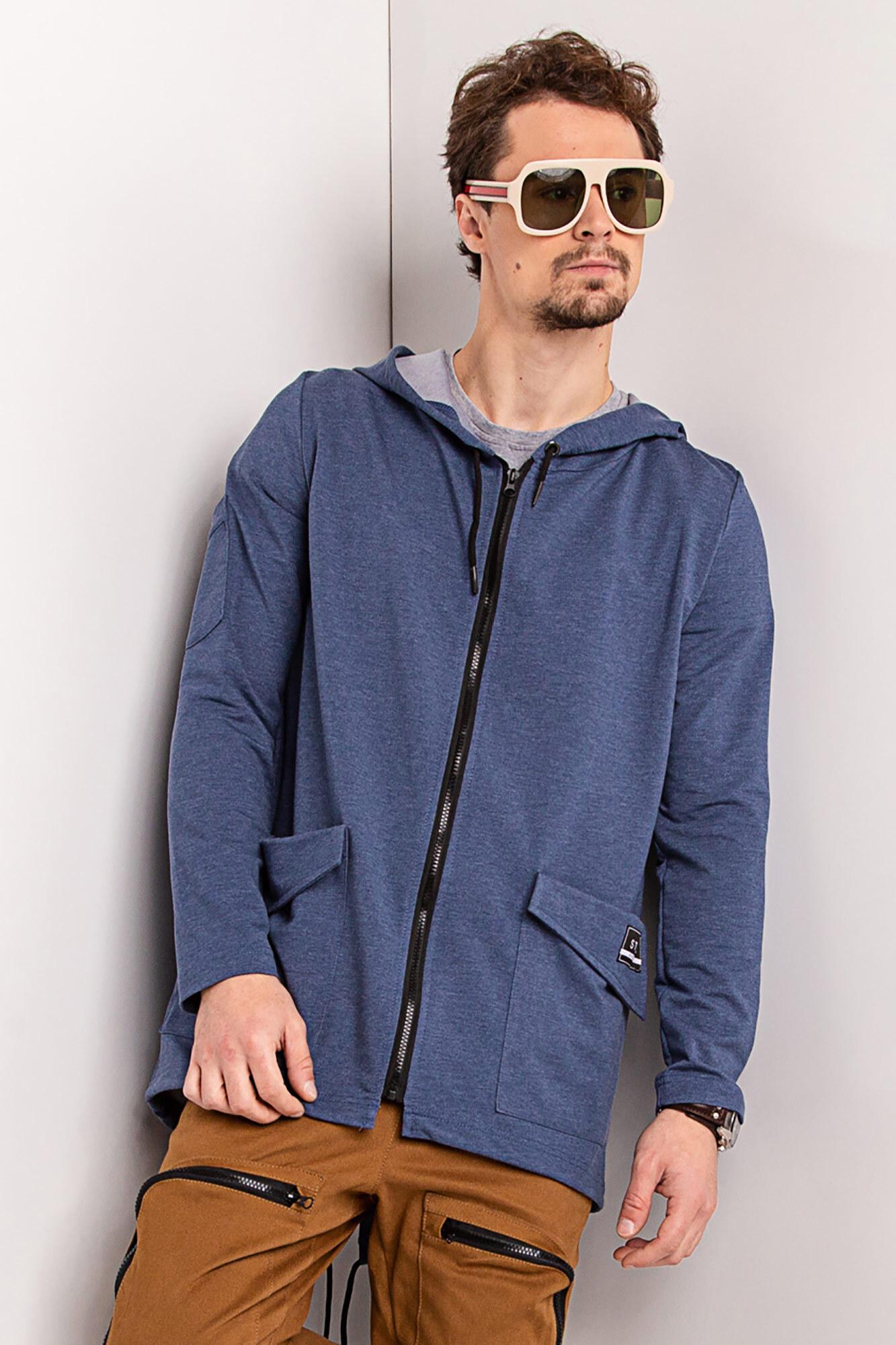 GEN Трикотажный кардиган синего цвета на молнии с капюшоном и большими карманами