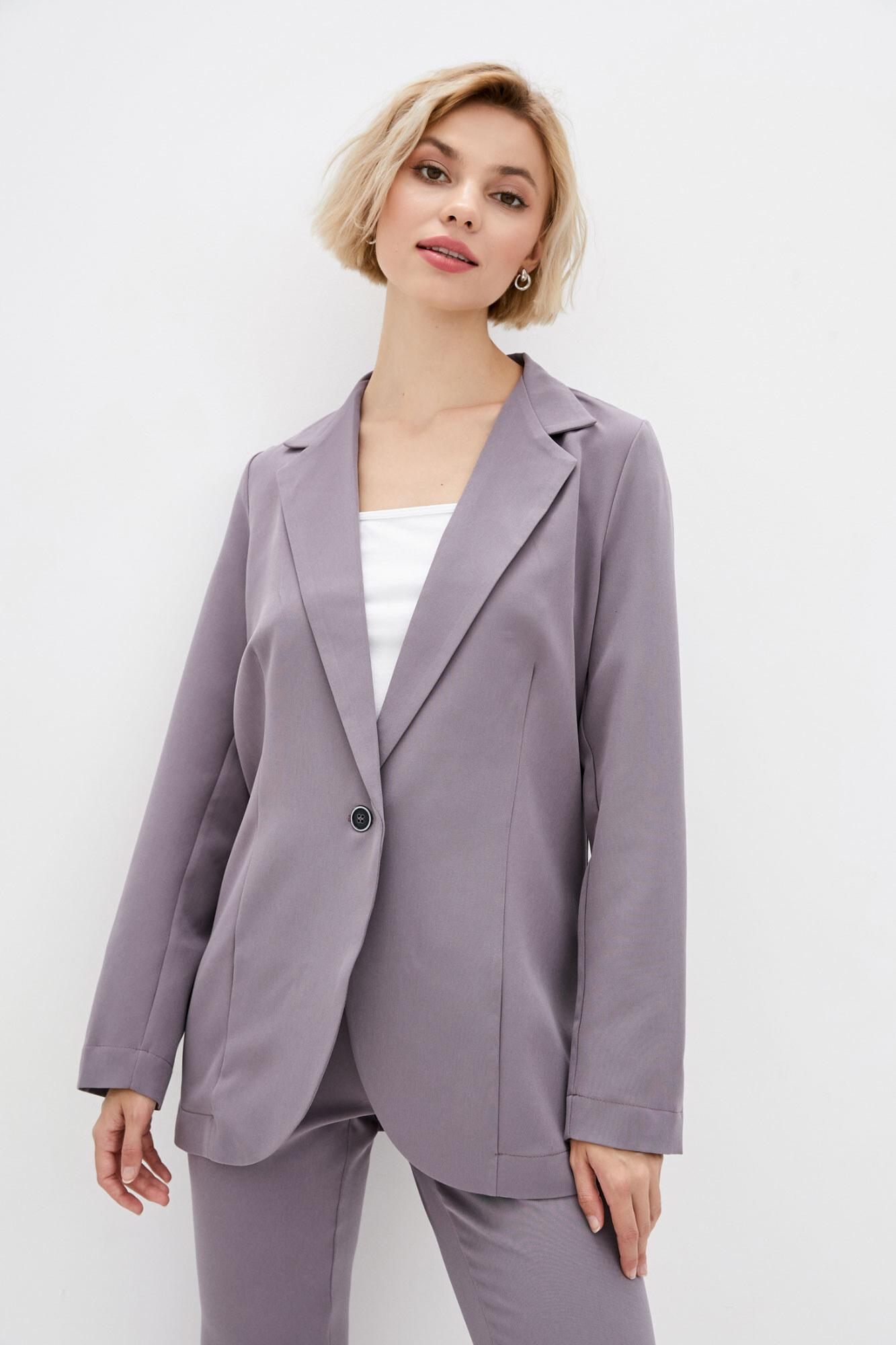 Оверсайз пиджак сиреневого цвета в кэжуал стиле