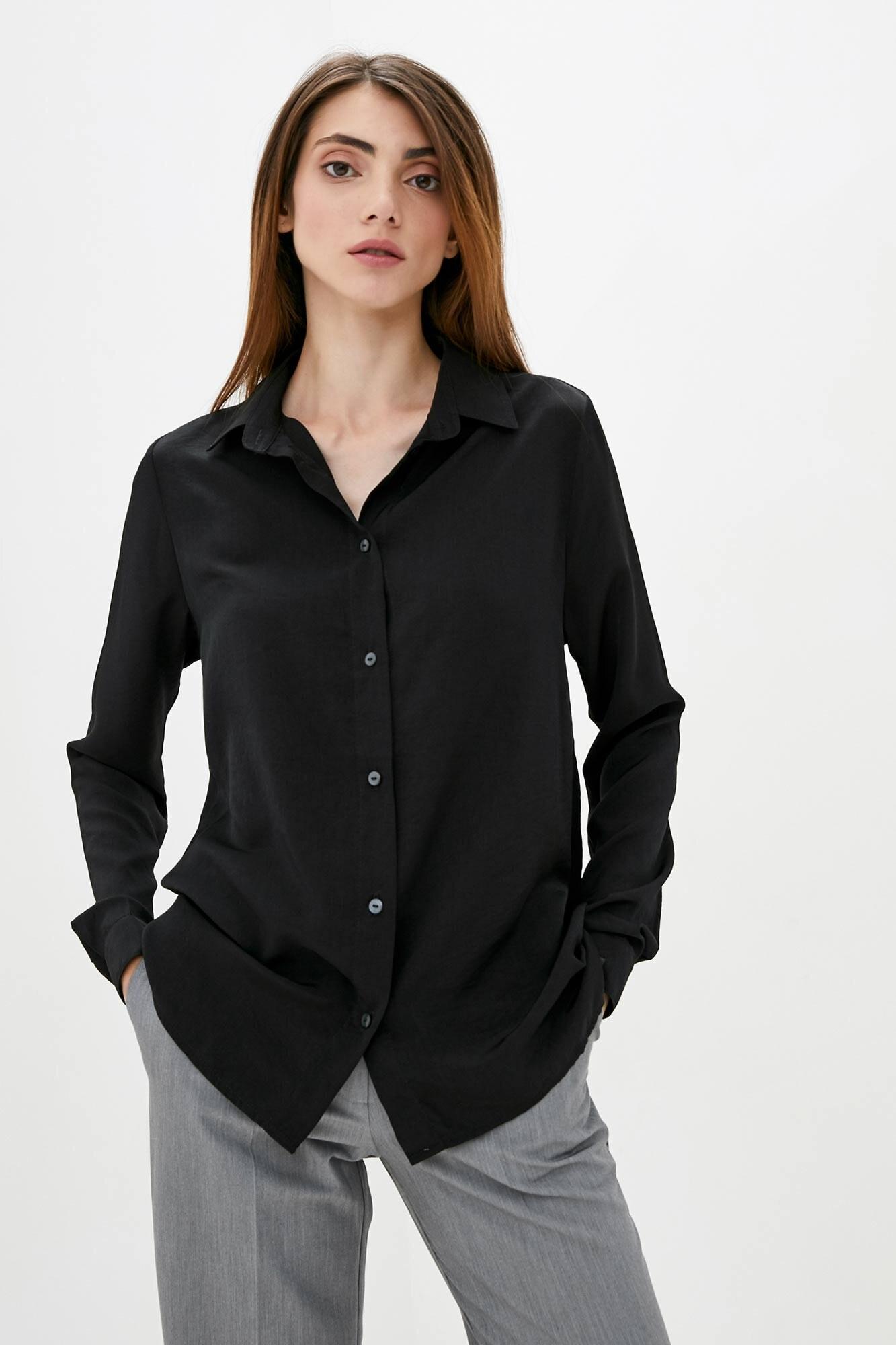 Тонкая оверсайз рубашка черного цвета с длинными рукавами