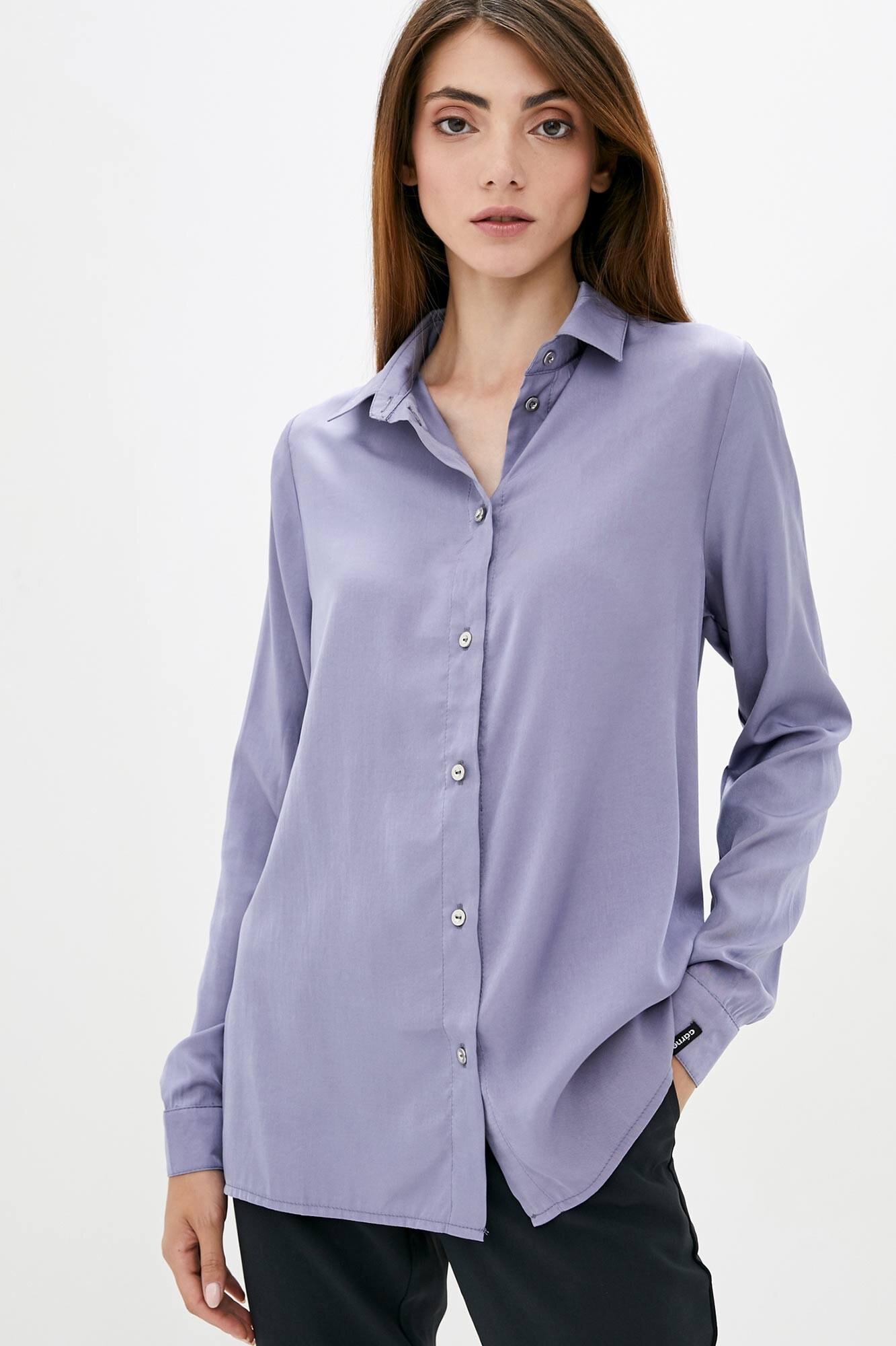 Тонкая оверсайз рубашка фиолетового цвета с длинными рукавами