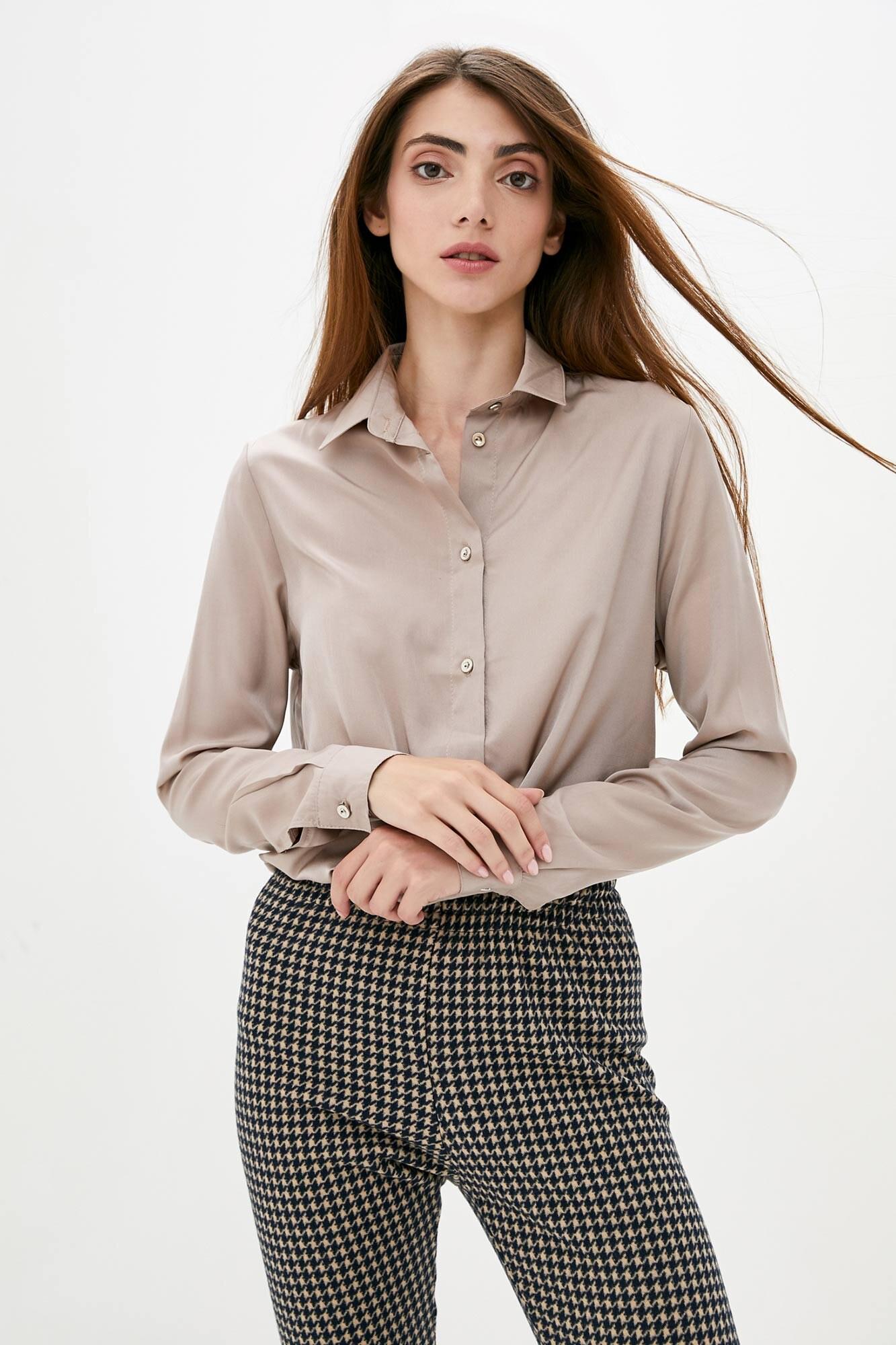 Тонкая оверсайз рубашка кофейного цвета с длинными рукавами