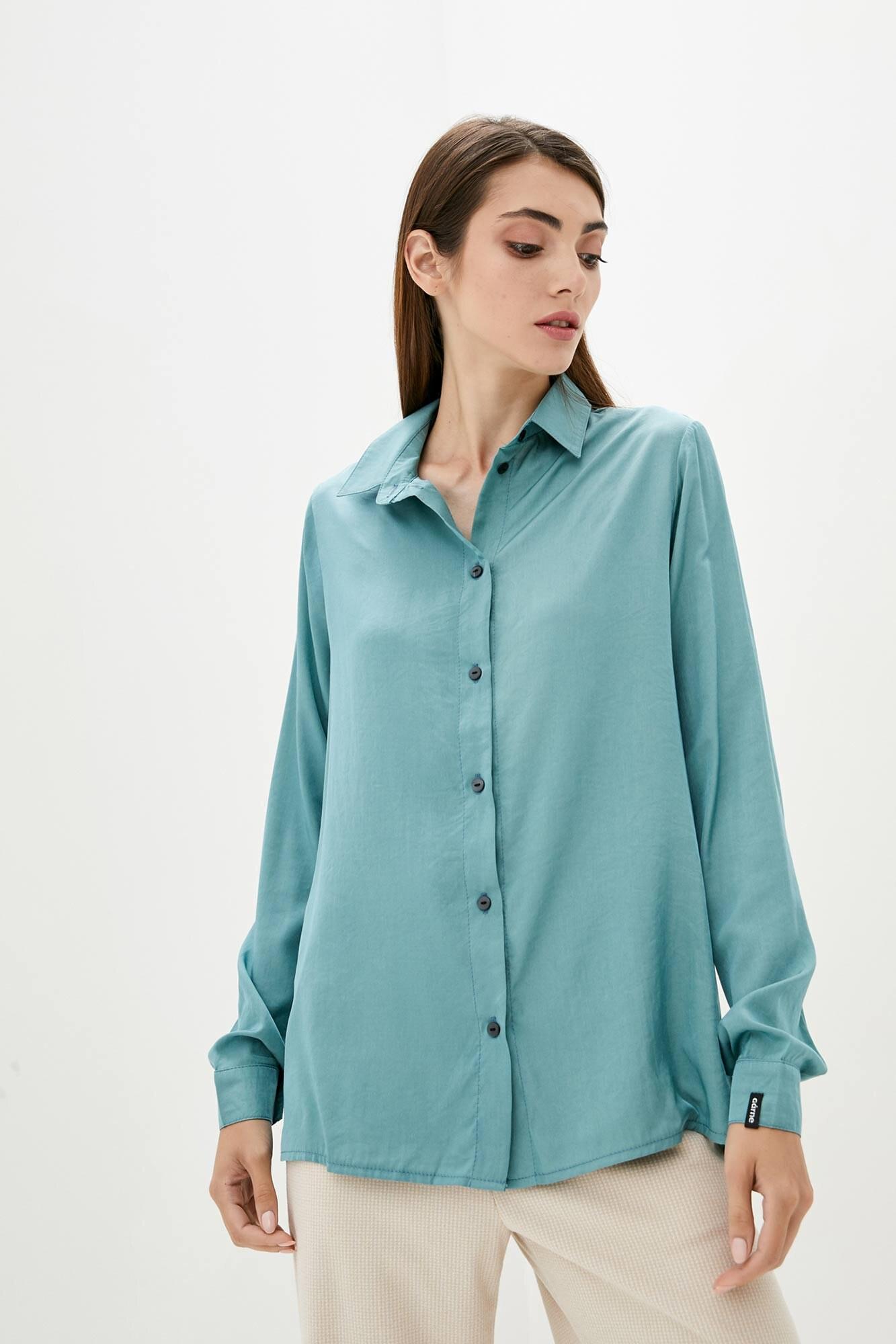 Тонкая оверсайз рубашка мятного цвета с длинными рукавами