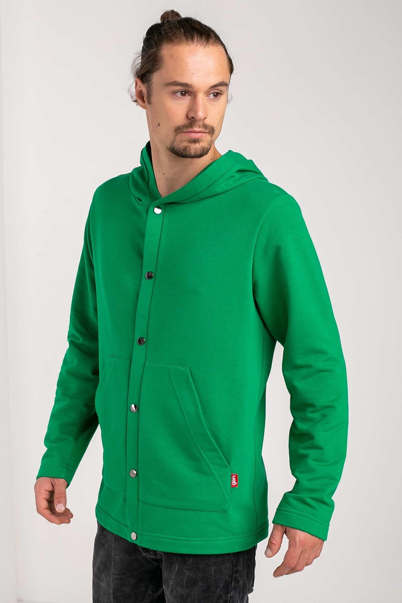 Зеленая хлопковая кофта на кнопках с капюшоном