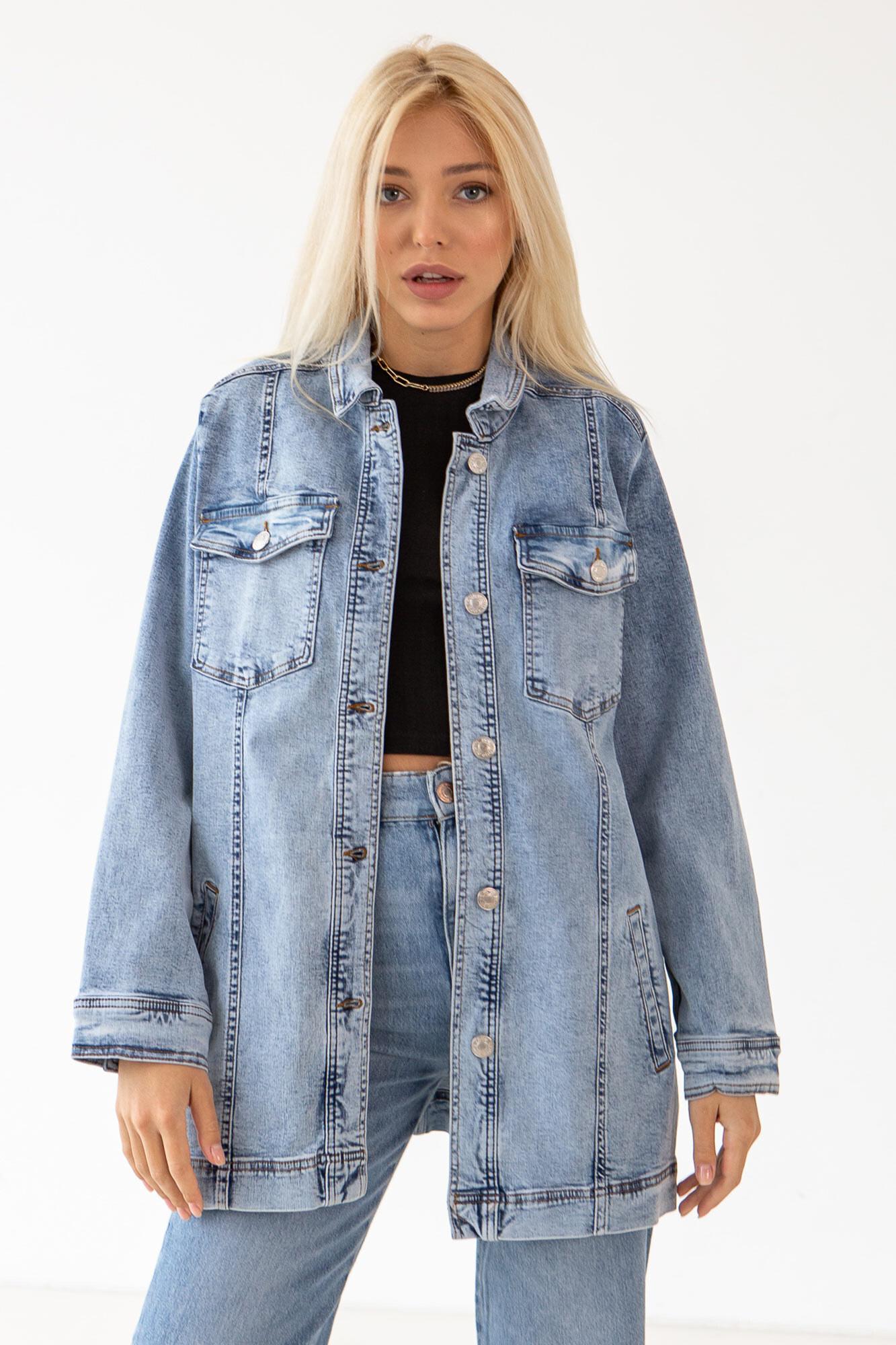 Удлиненная джинсовая куртка варенка синяя