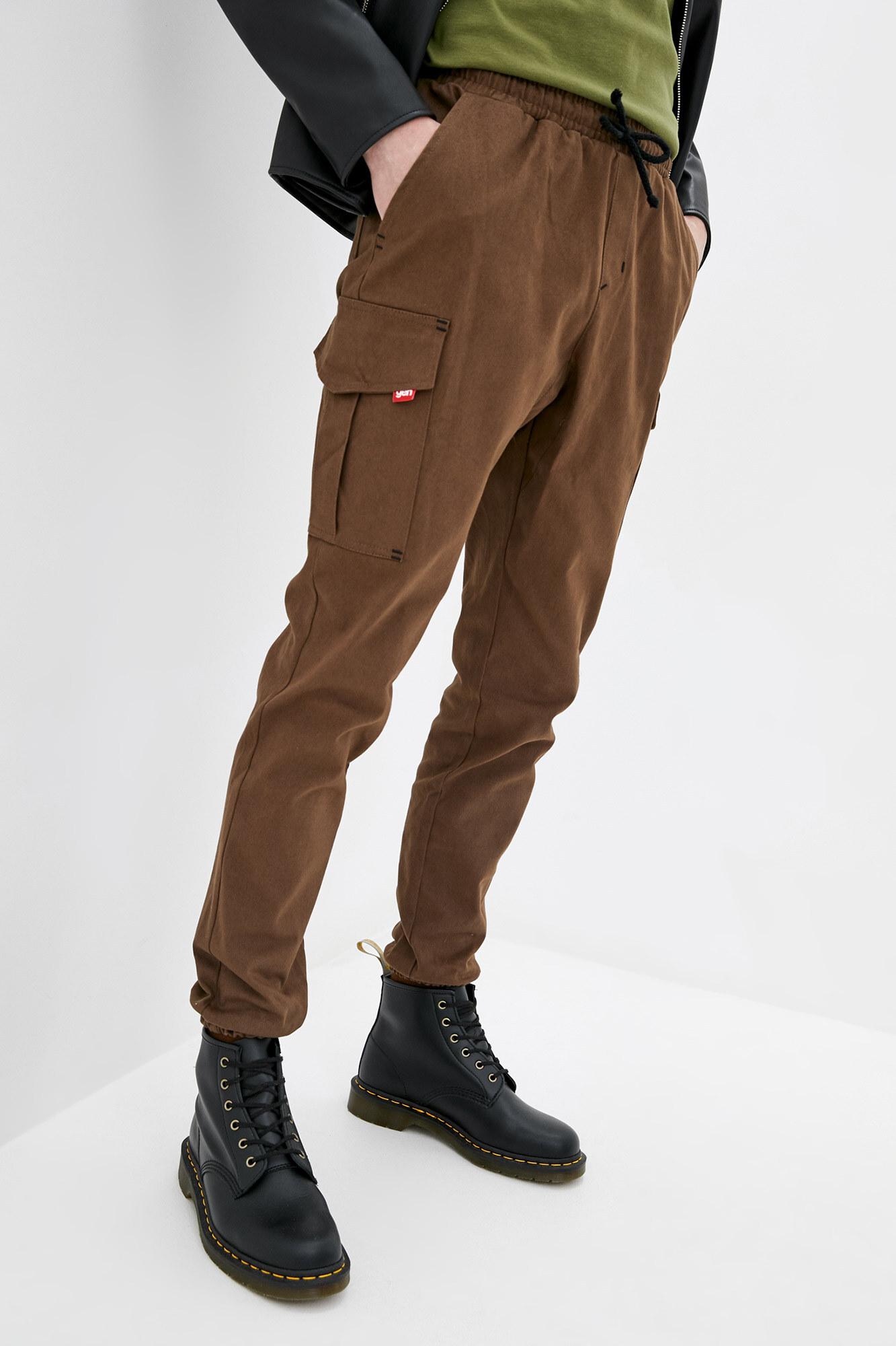 Коричневые джинсовые штаны карго на манжетах