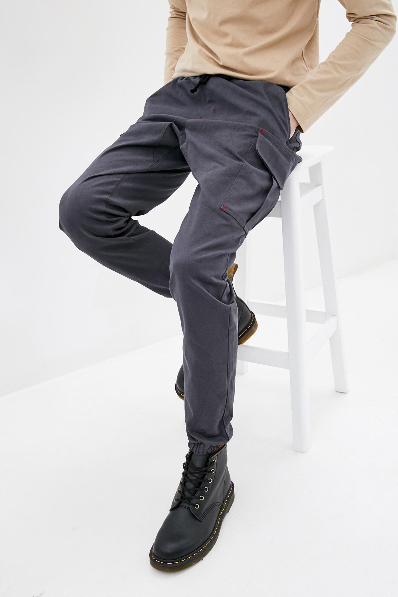 Серые джинсовые штаны карго на манжетах
