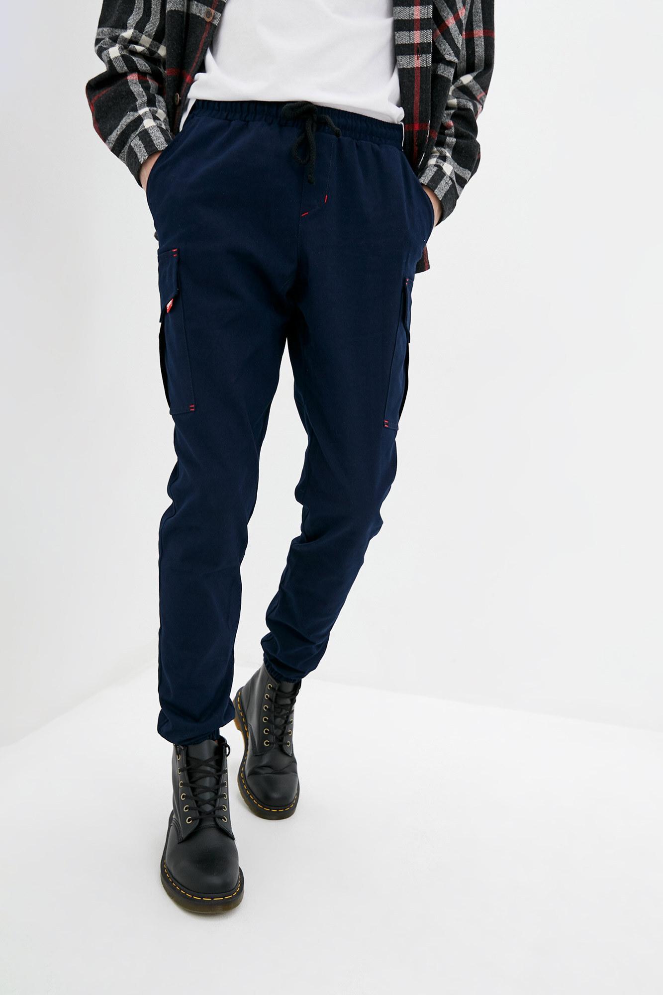Синие джинсовые штаны карго на манжетах