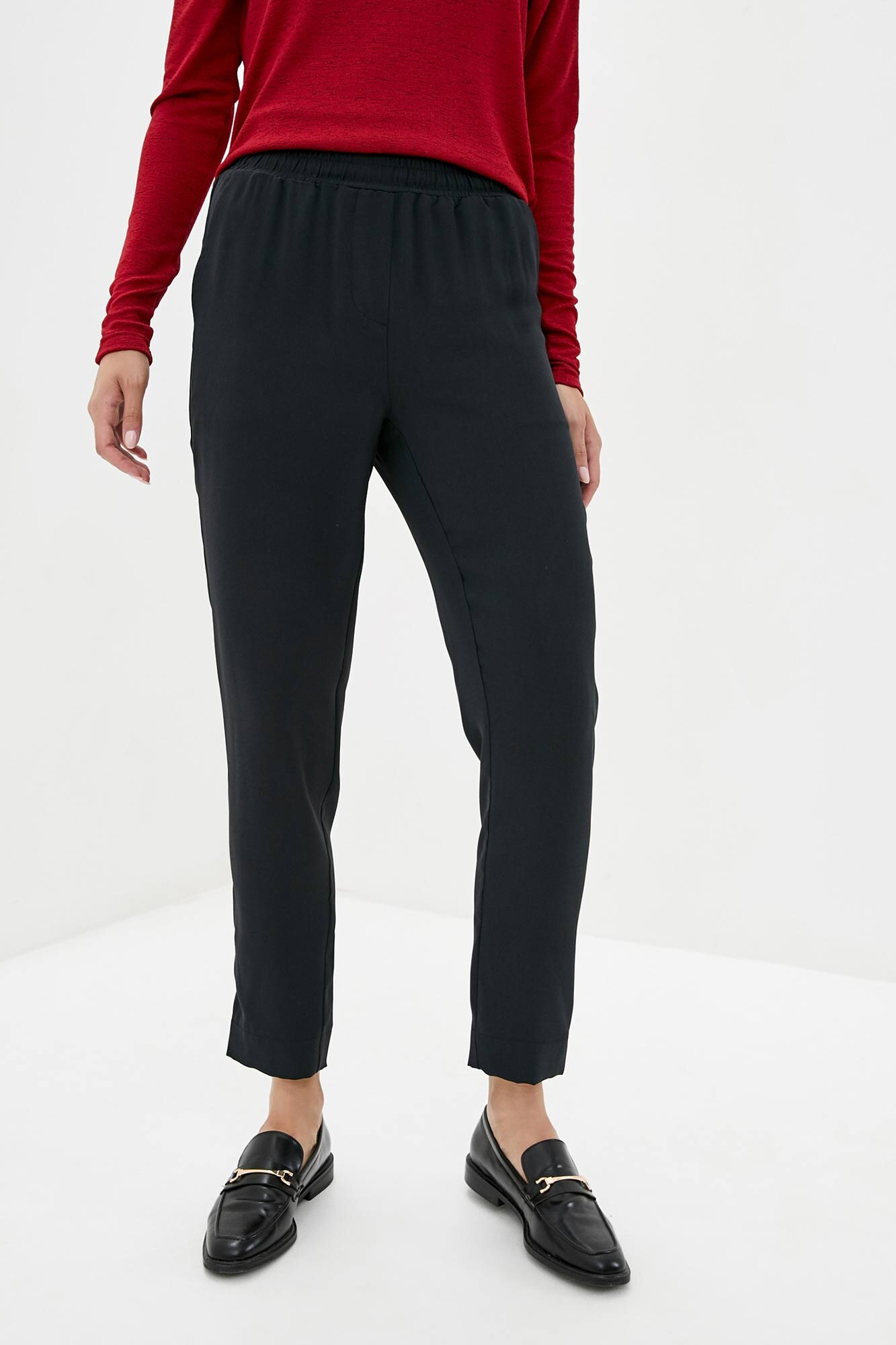 Черные прямые брюки высокой посадки из костюмки