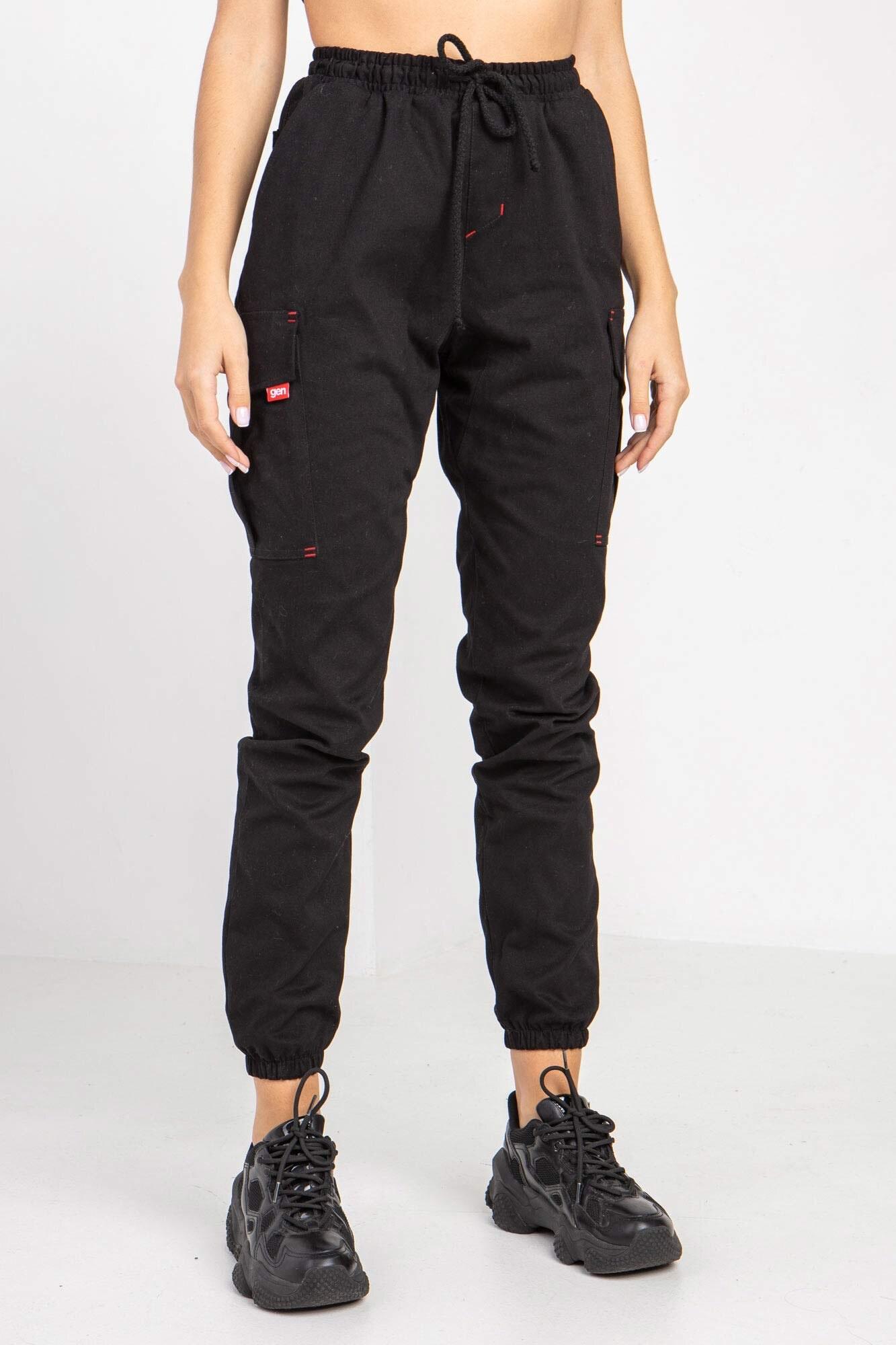 Джинсовые брюки карго GEN черного цвета с манжетами