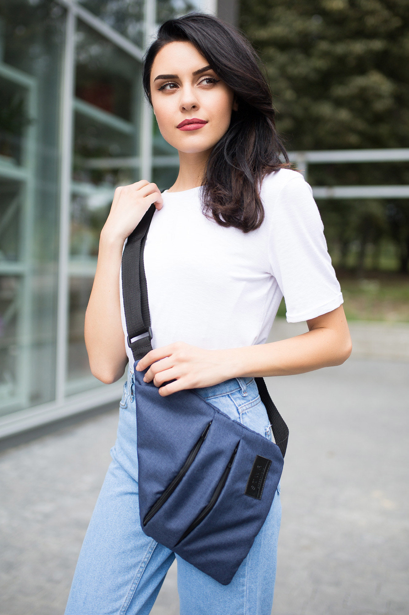 Синяя сумка-месседжер-кобура SLIM на одно плечо