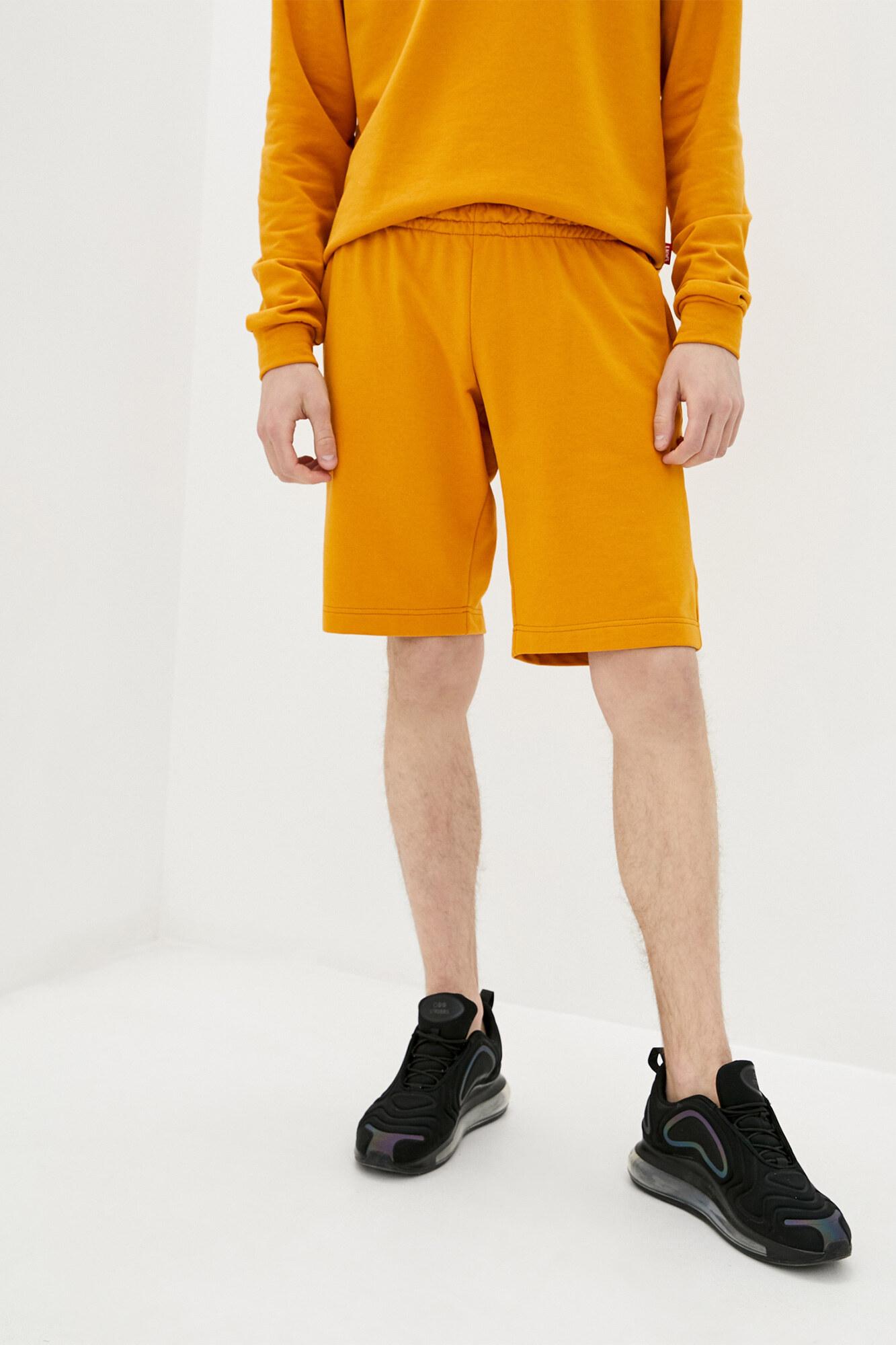 Горчичные спортивные шорты хлопковые до колен GEN
