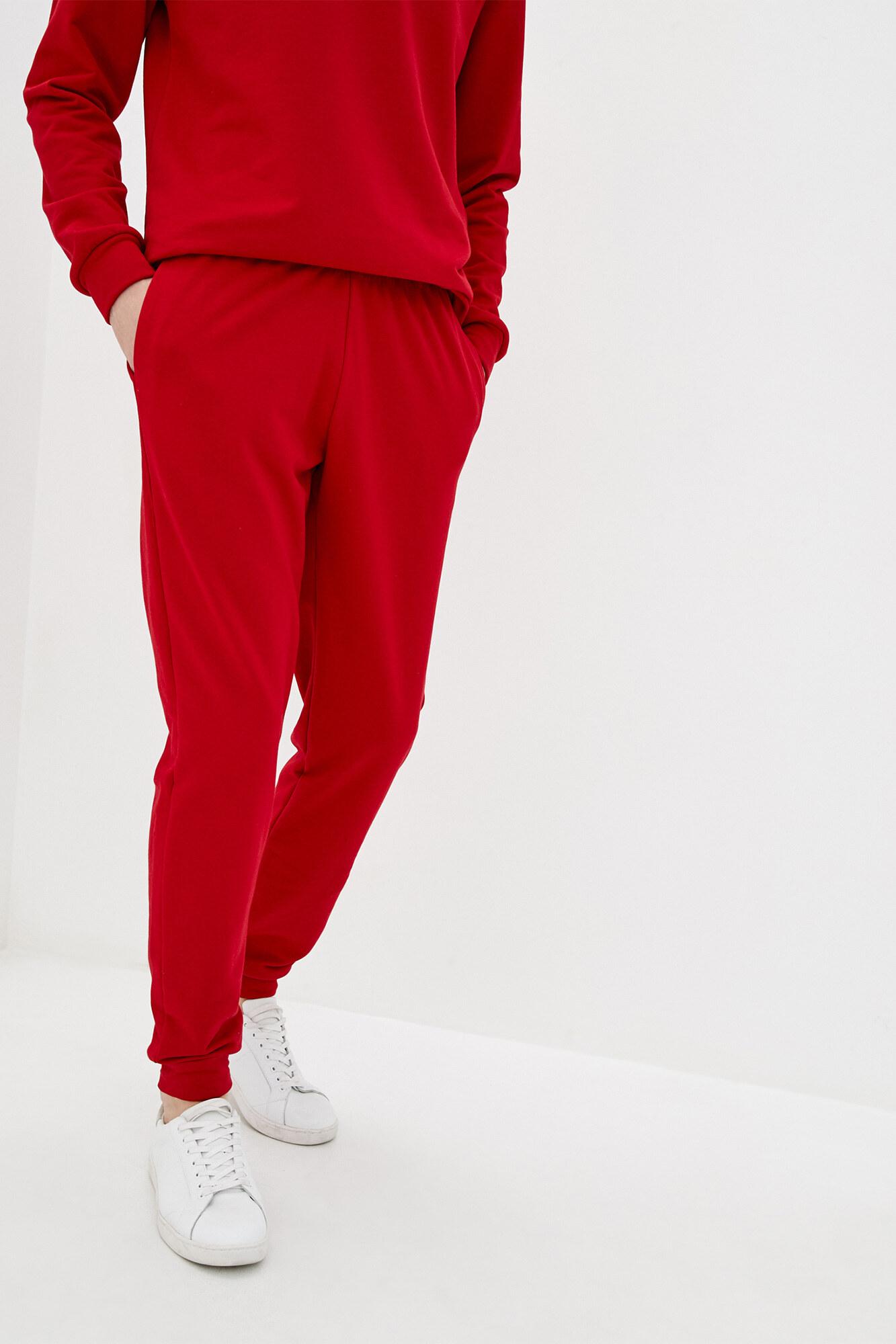Красные трикотажные штаны в спортивном стиле с манжетами GEN