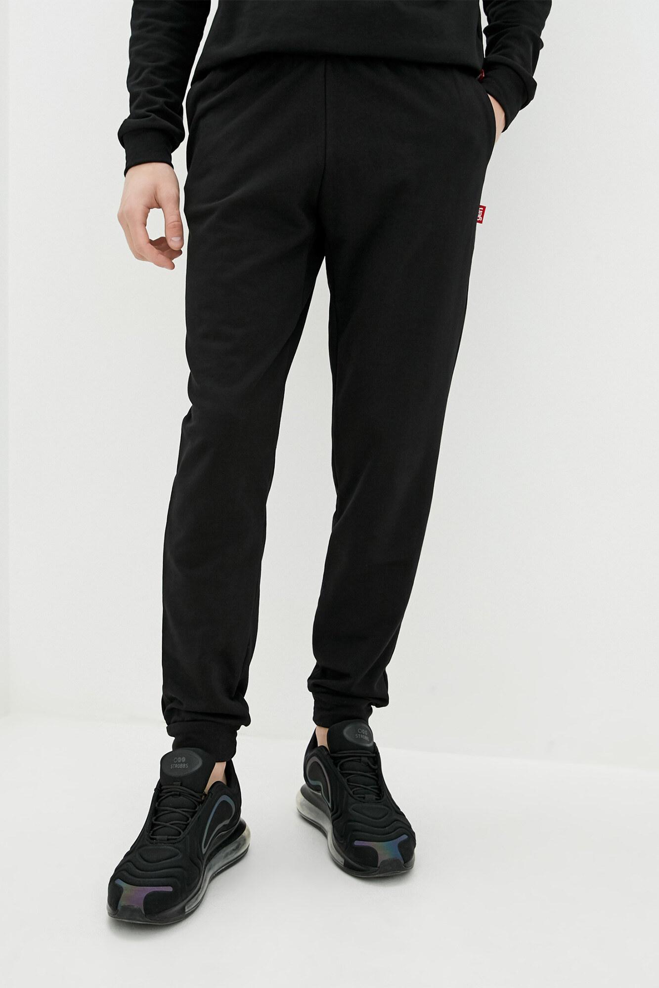 Черные трикотажные штаны в спортивном стиле с манжетами GEN