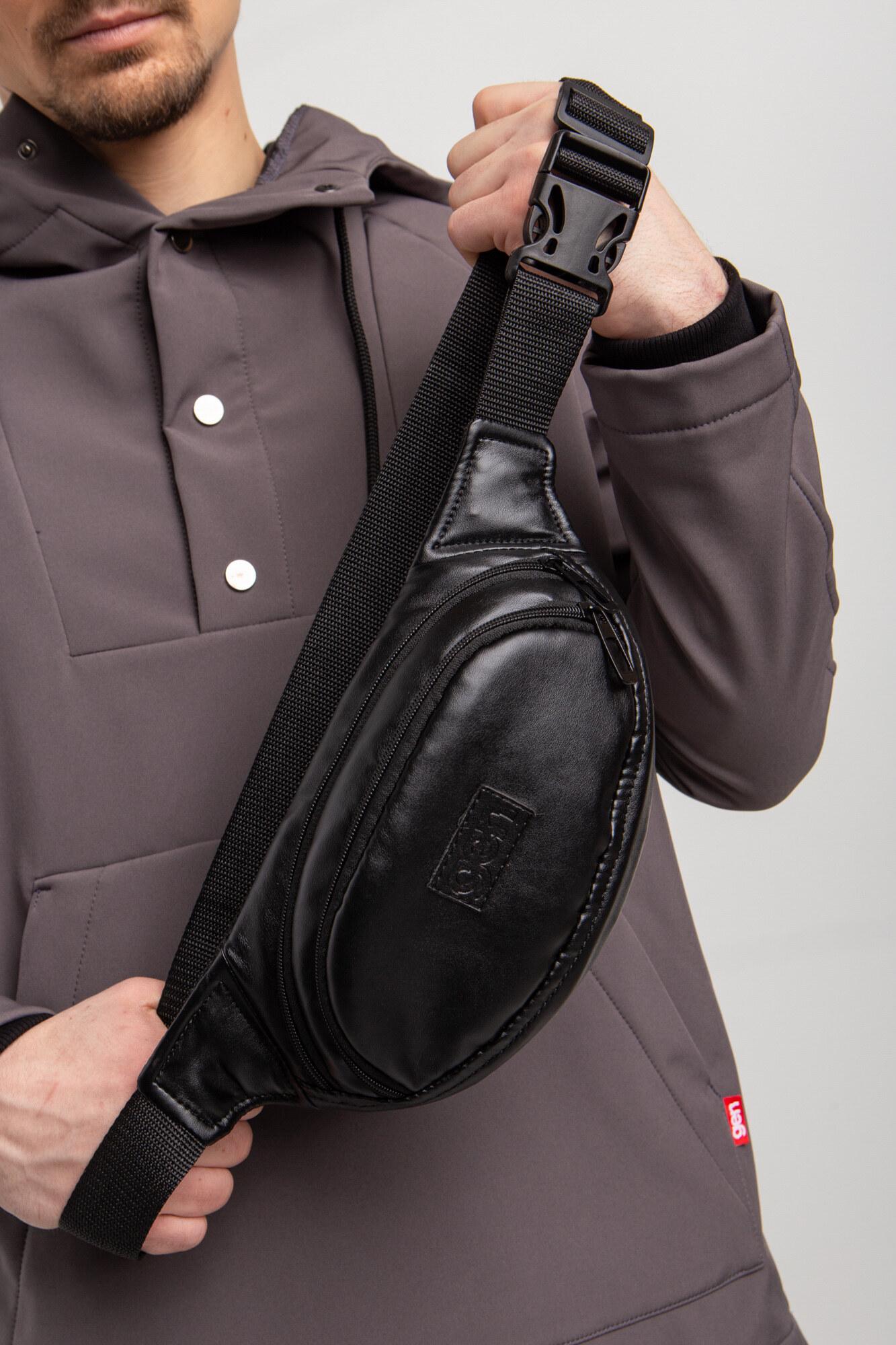 GEN Черная поясная сумка бананка овальной формы из глянцевого кожзама