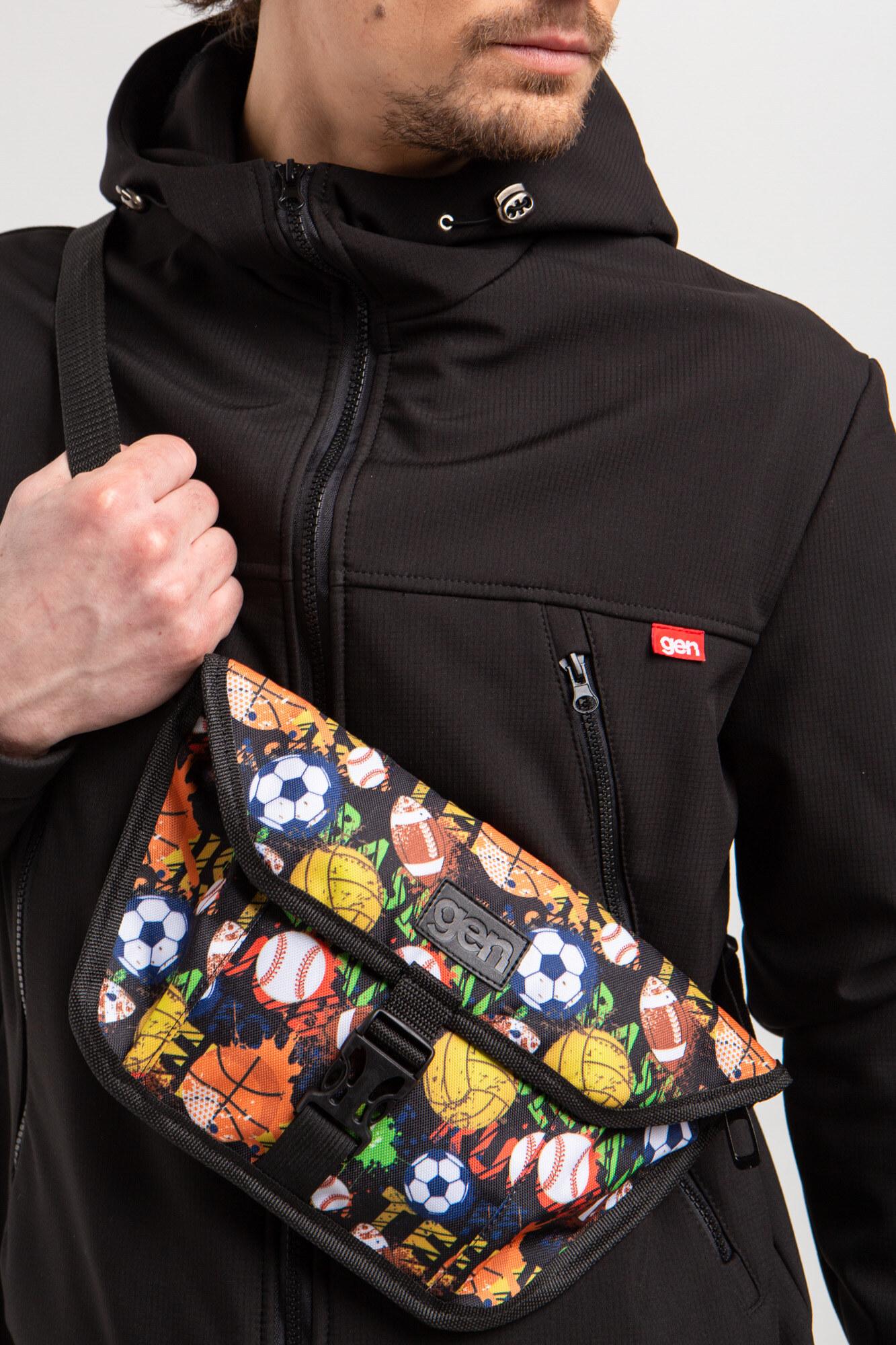 GEN Черная поясная сумка бананка квадратной формы с одним карманом и клапаном