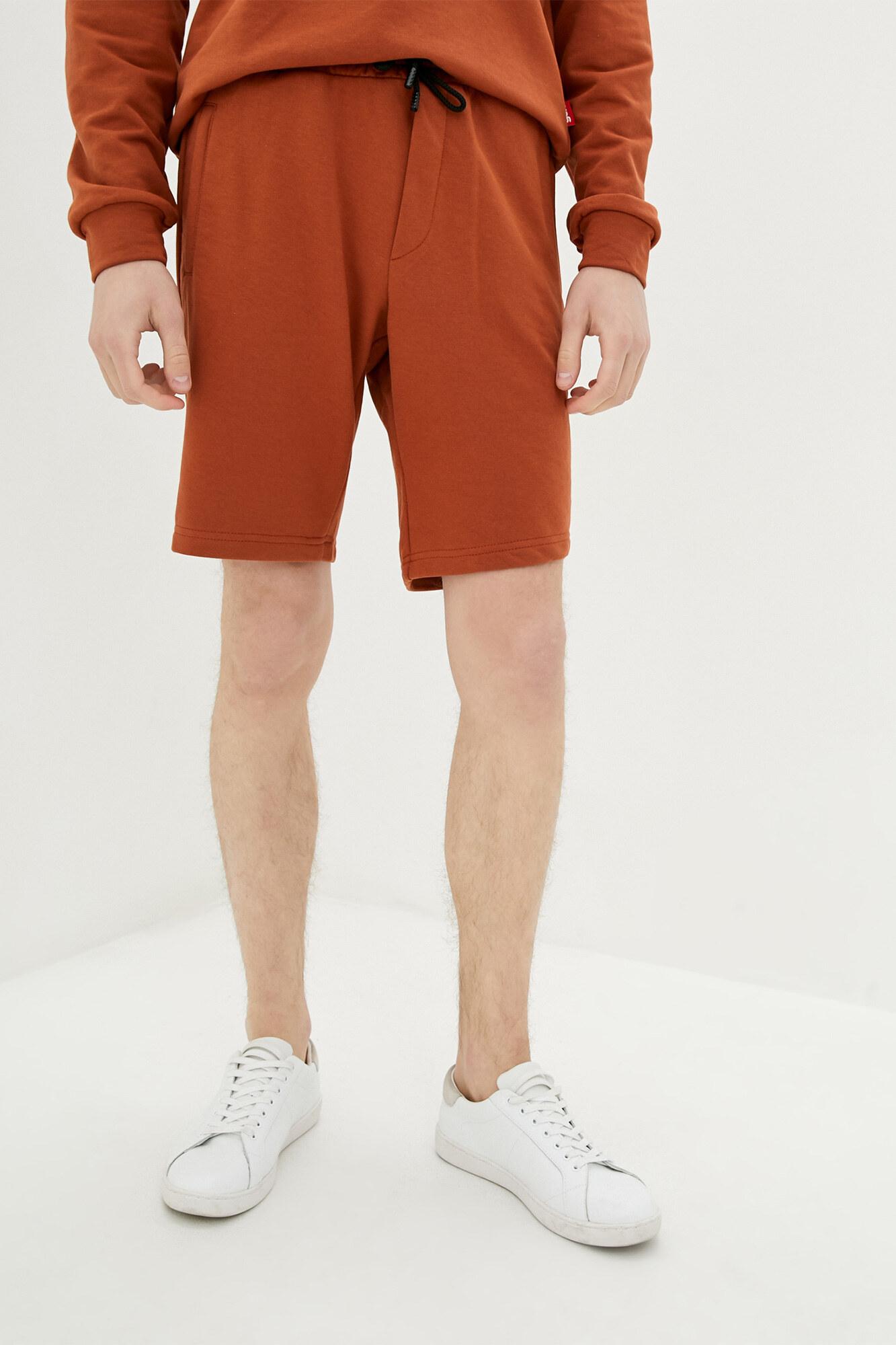 Рыжие мужские трикотажные шорты на завязках GEN