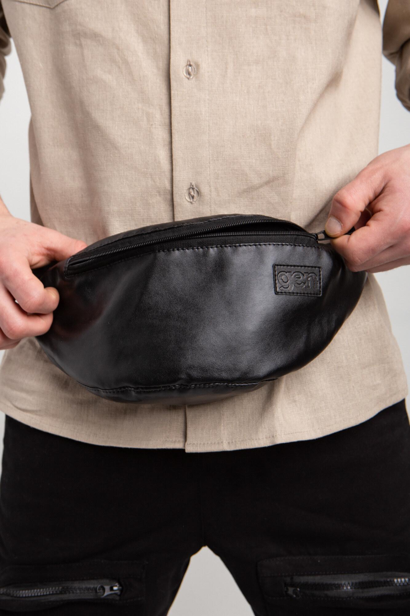 GEN Черная поясная сумка бананка из кожзама полукруглой формы