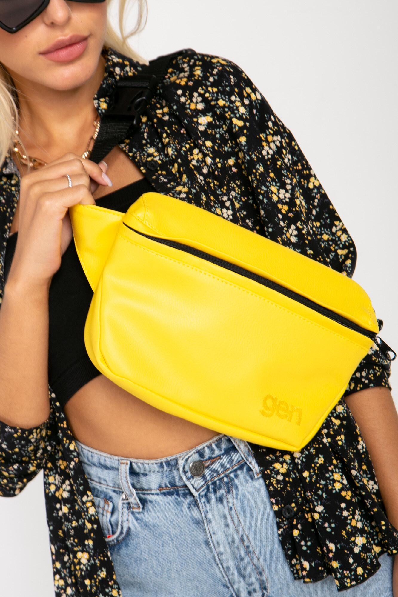 Прямоугольная поясная сумка бананка желтого цвета на одно отделение