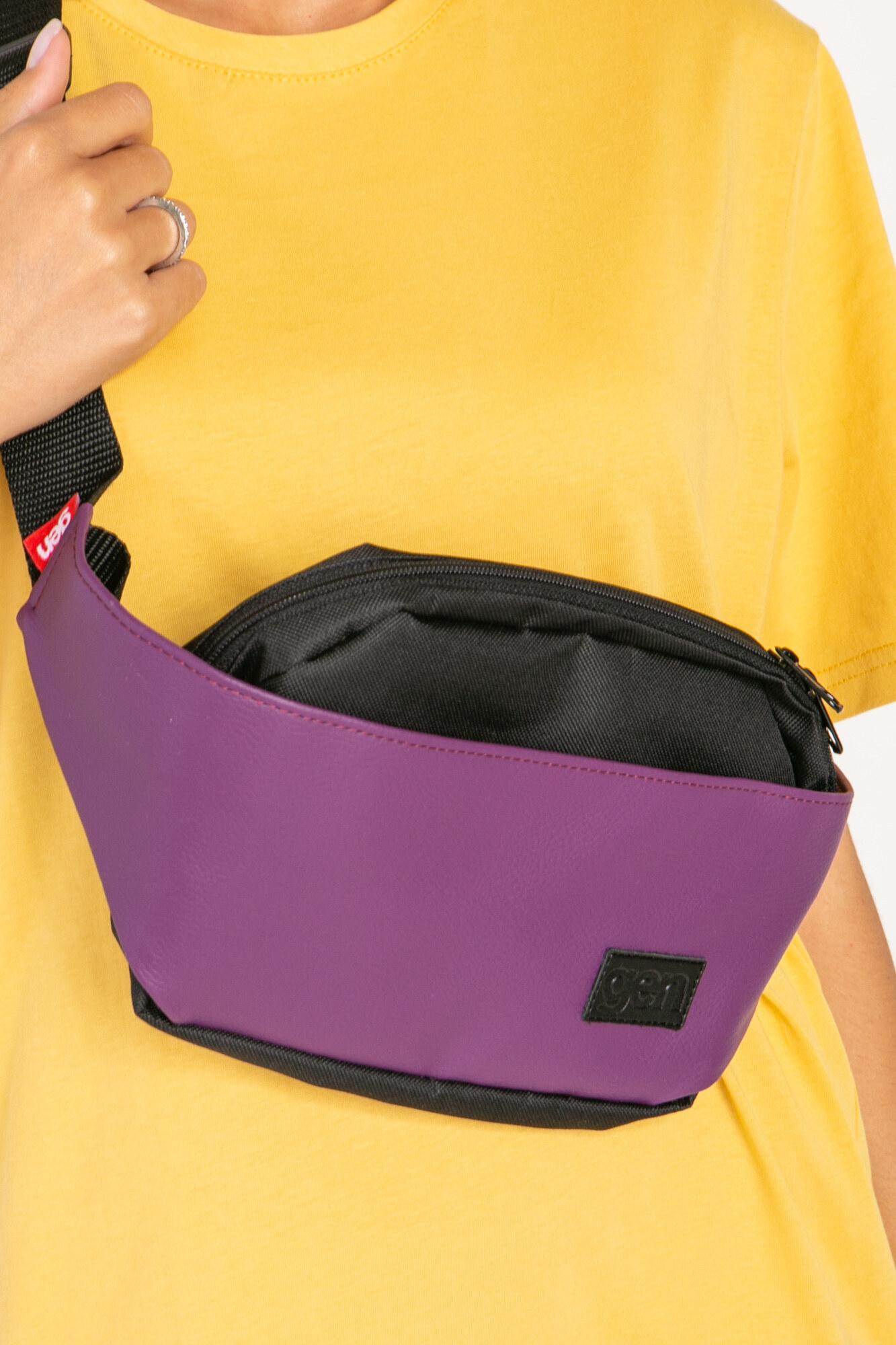 Прямоугольная сумка на пояс бананка фиолетового цвета на одно отделение