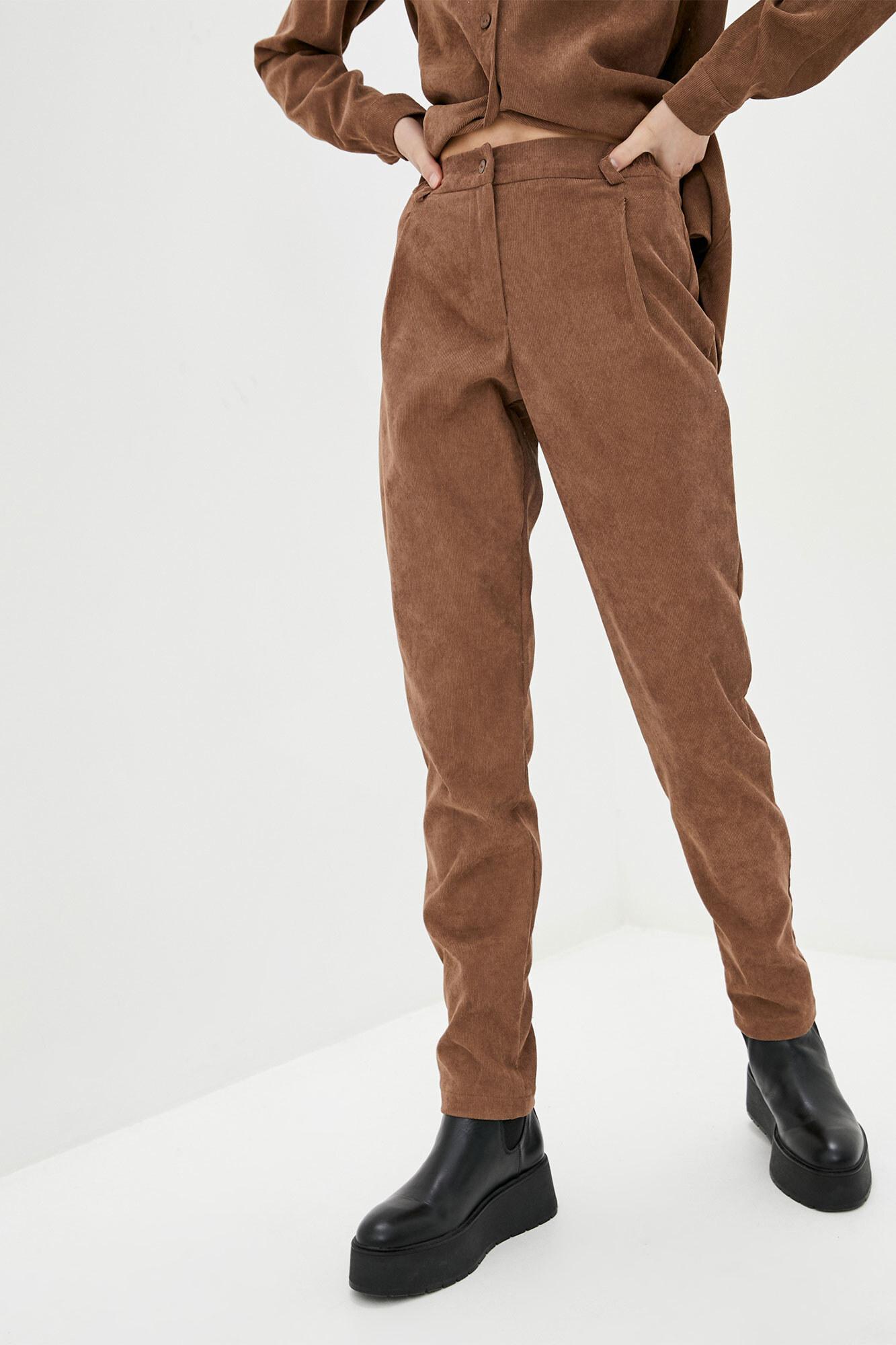 Высокие зауженные штаны из коричневого вельвета GEN