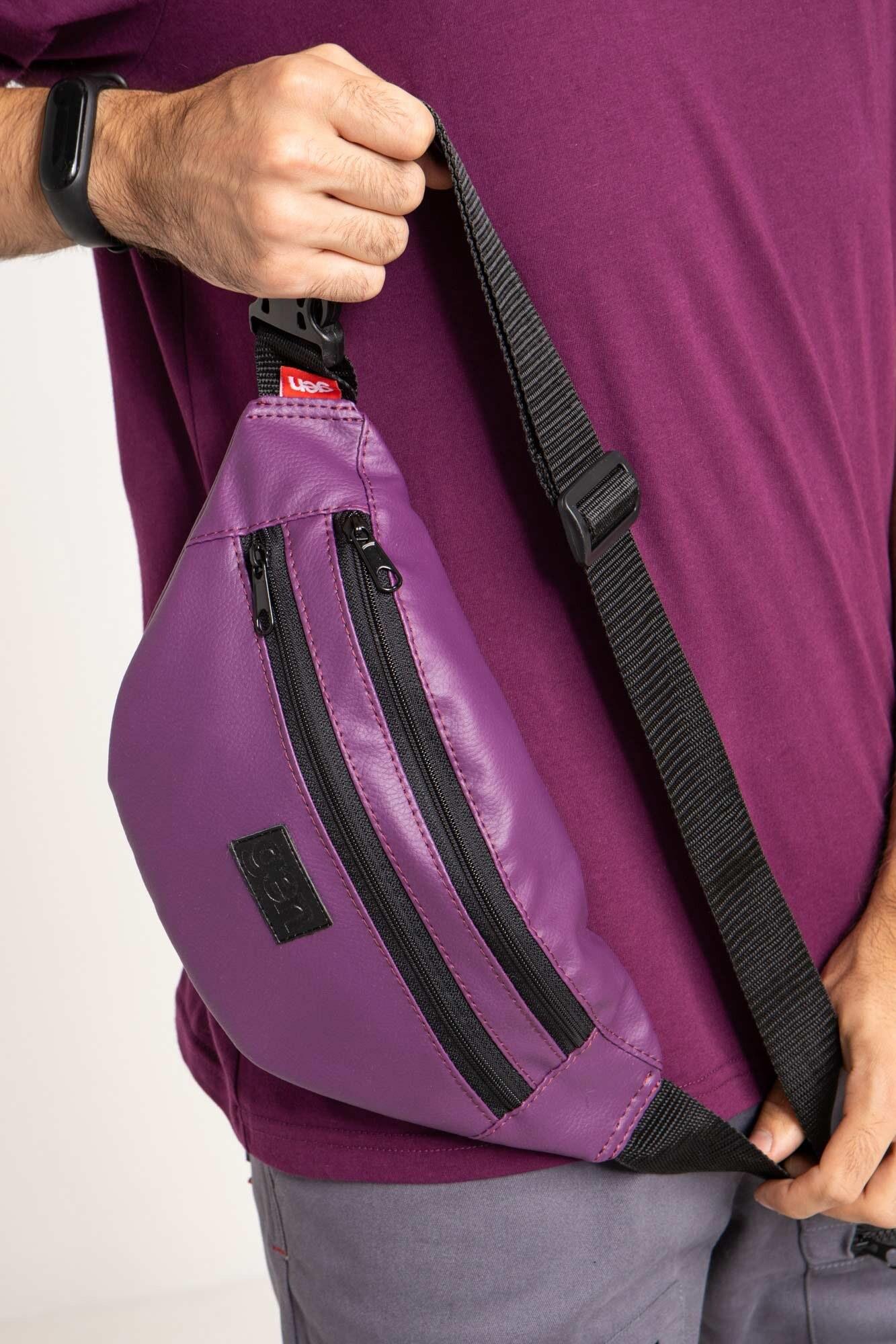 Фиолетовая сумка на пояс бананка с двумя отделениями на молнии