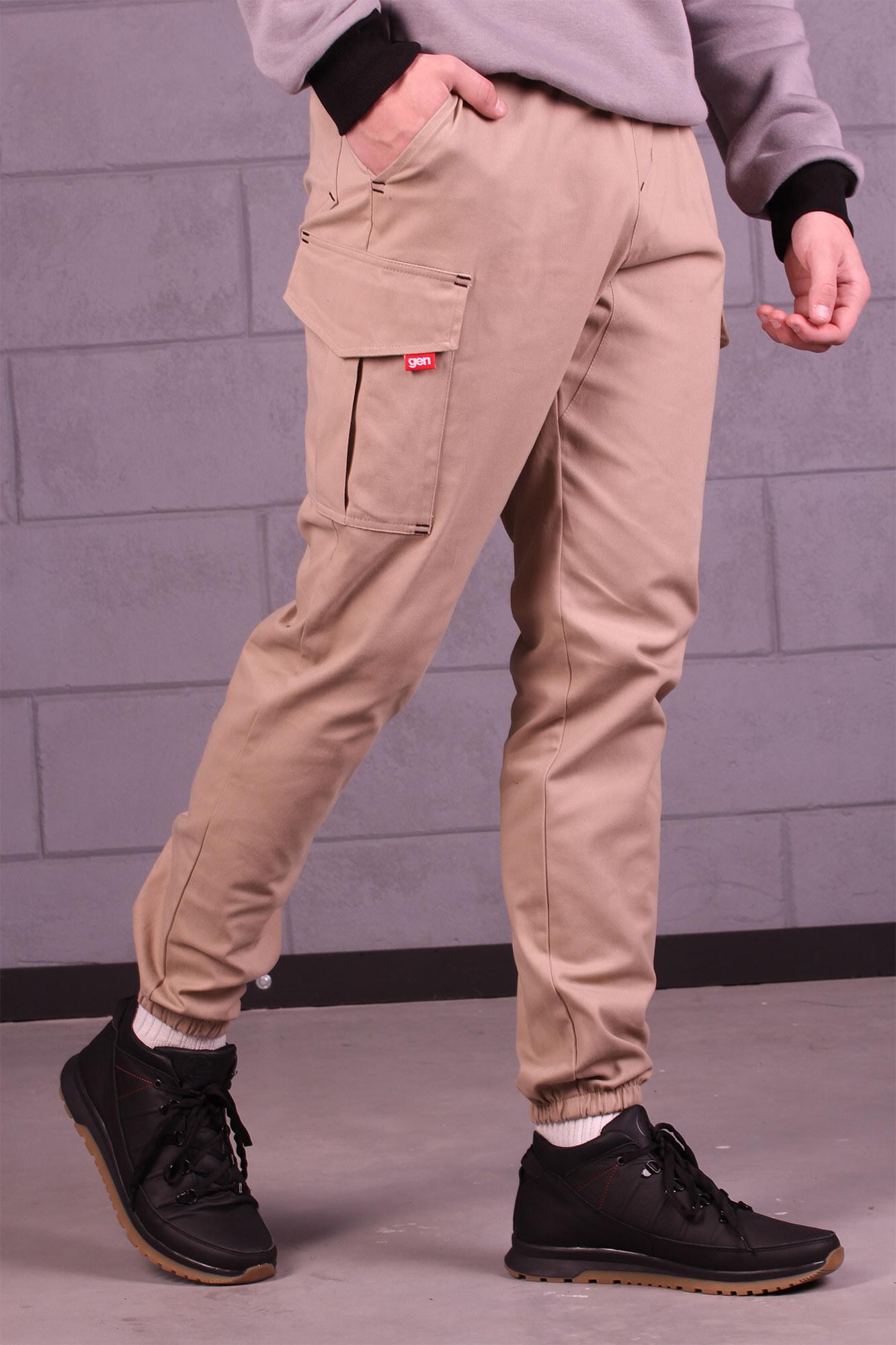 Мужские бежевые коттоновые карго на манжетах с боковыми карманами