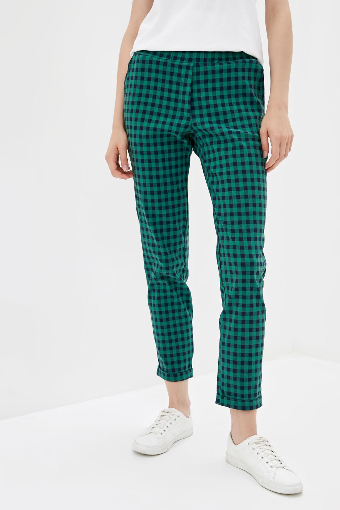 Зеленые клетчатые штаны в кэжуал стиле
