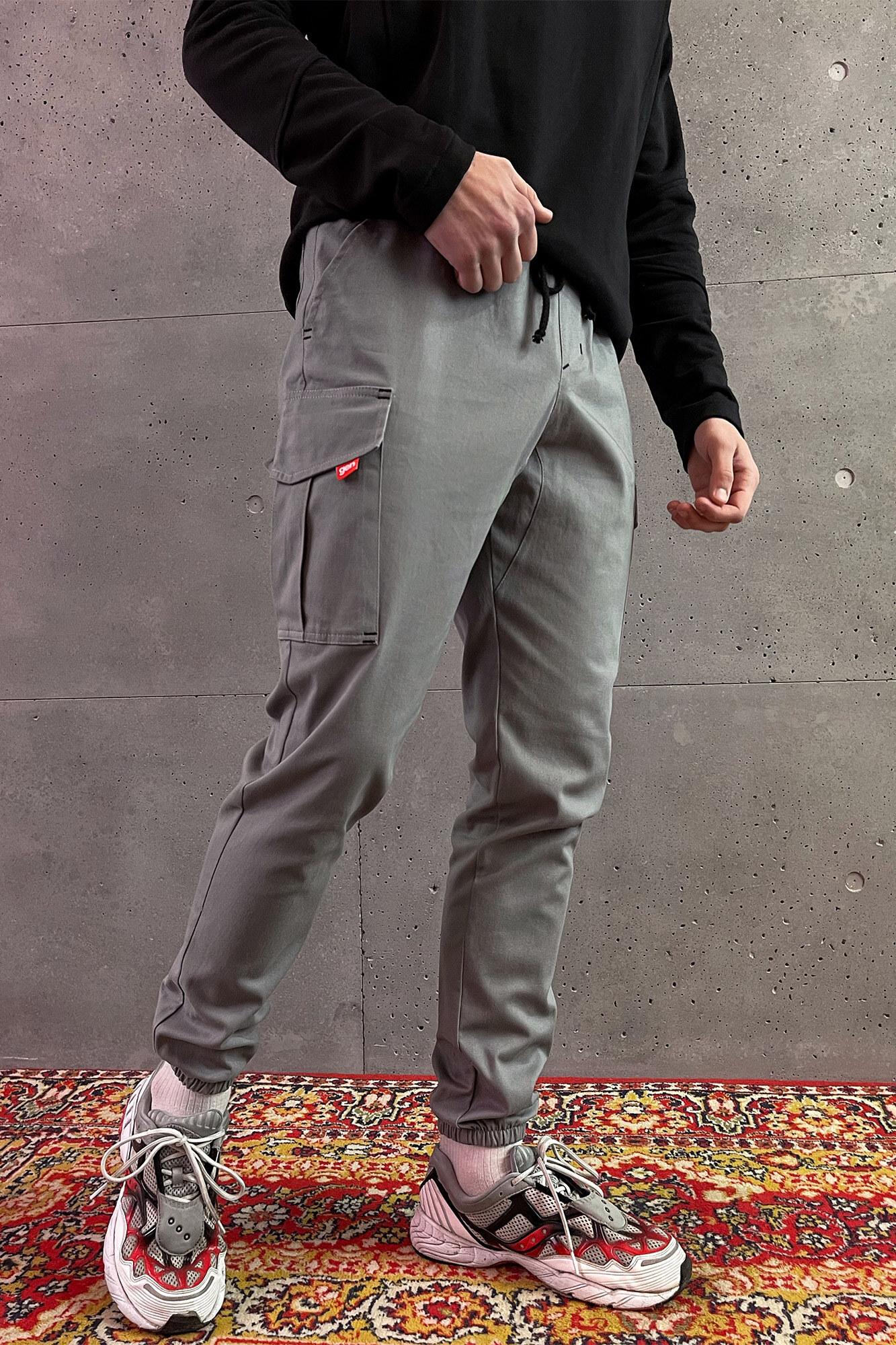 Мужские серые коттоновые карго на манжетах с боковыми карманами
