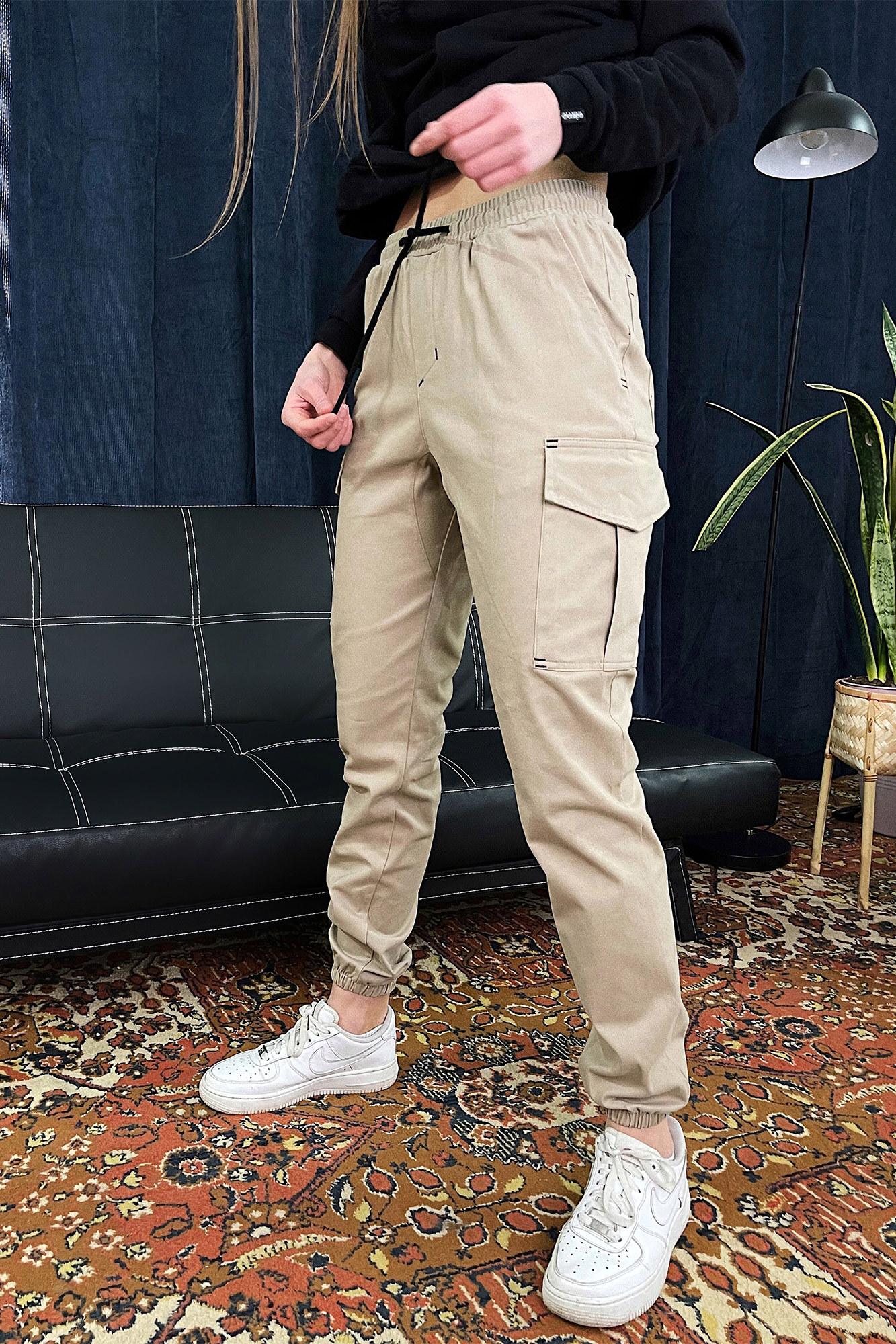 Женские песочные коттоновые штаны джоггеры на манжетах