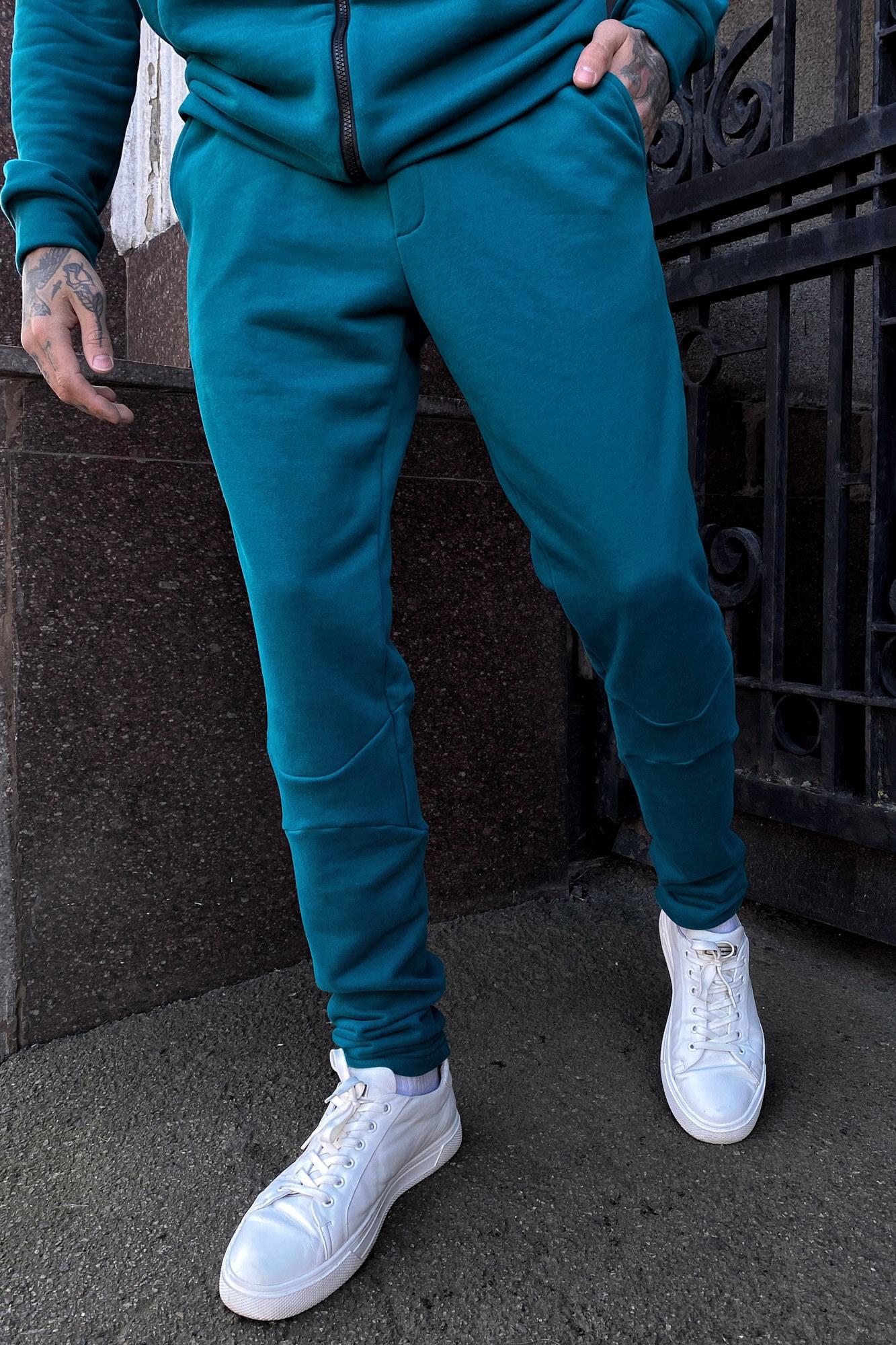 Хлопковые спортивные штаны в бирюзовом цвете