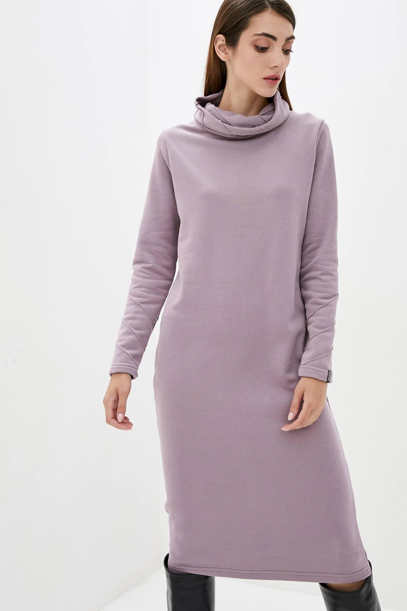 Трикотажное платье гольф цвета пудры длиной ниже колен