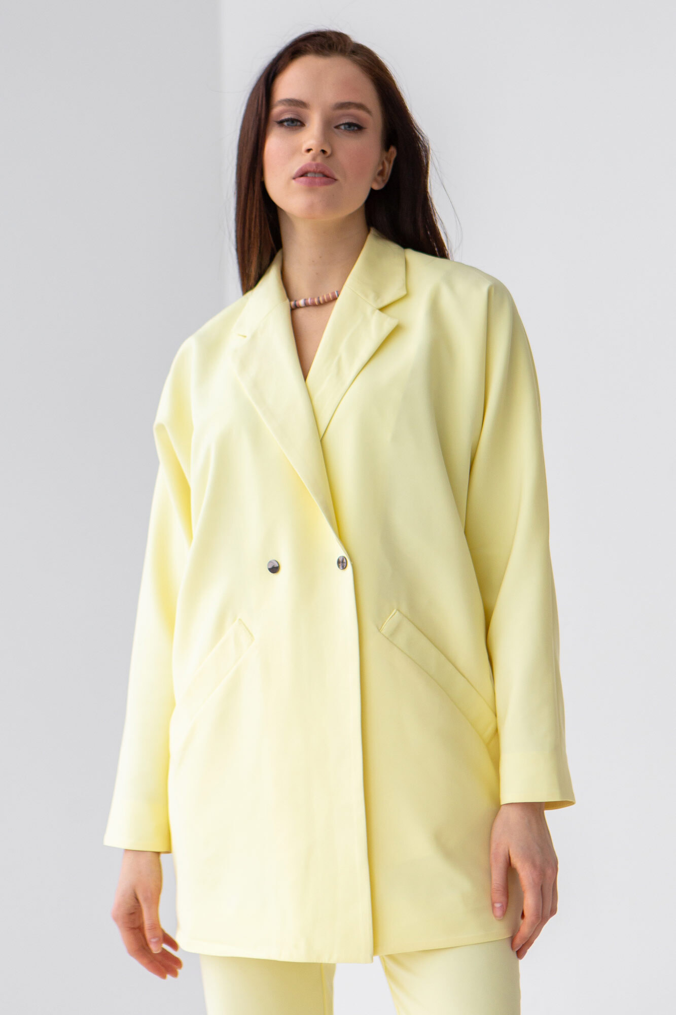 Лимонный пиджак оверсайз длинный на пуговицах GEN
