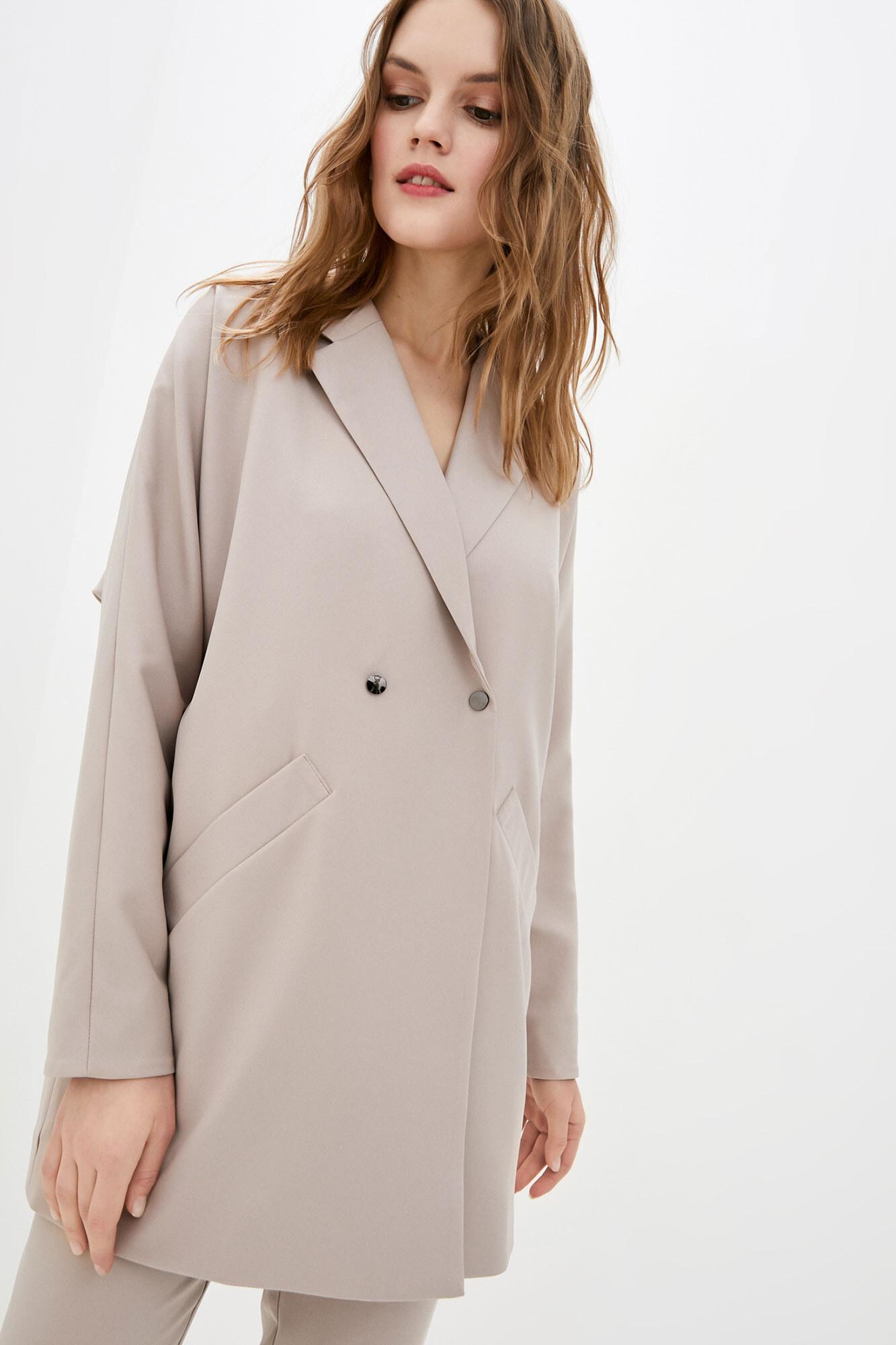 Кофейный пиджак оверсайз длинный на пуговицах GEN