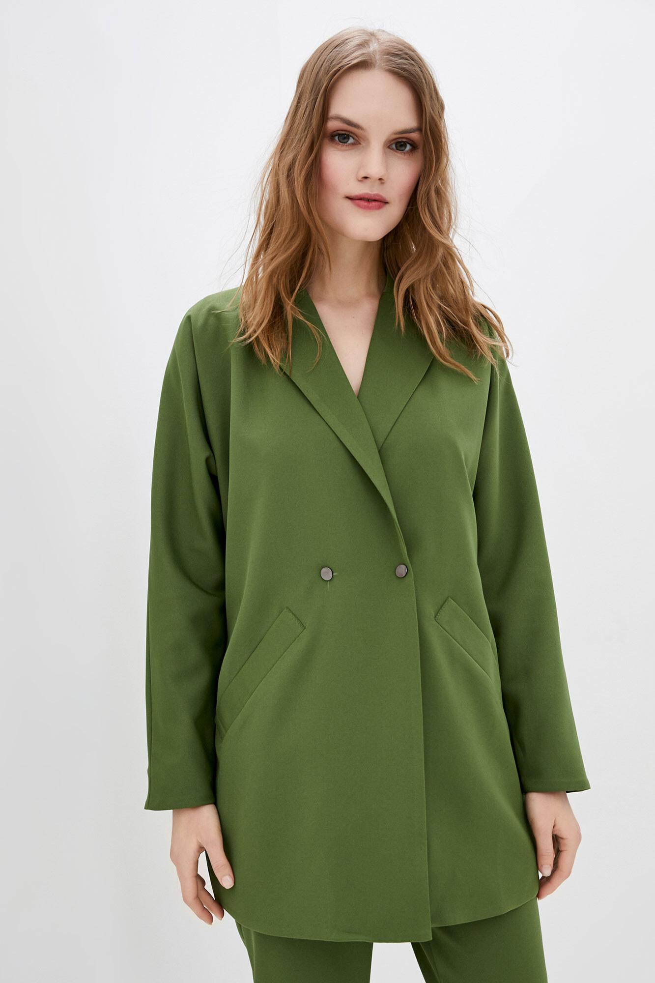 Зеленый пиджак оверсайз длинный на пуговицах GEN
