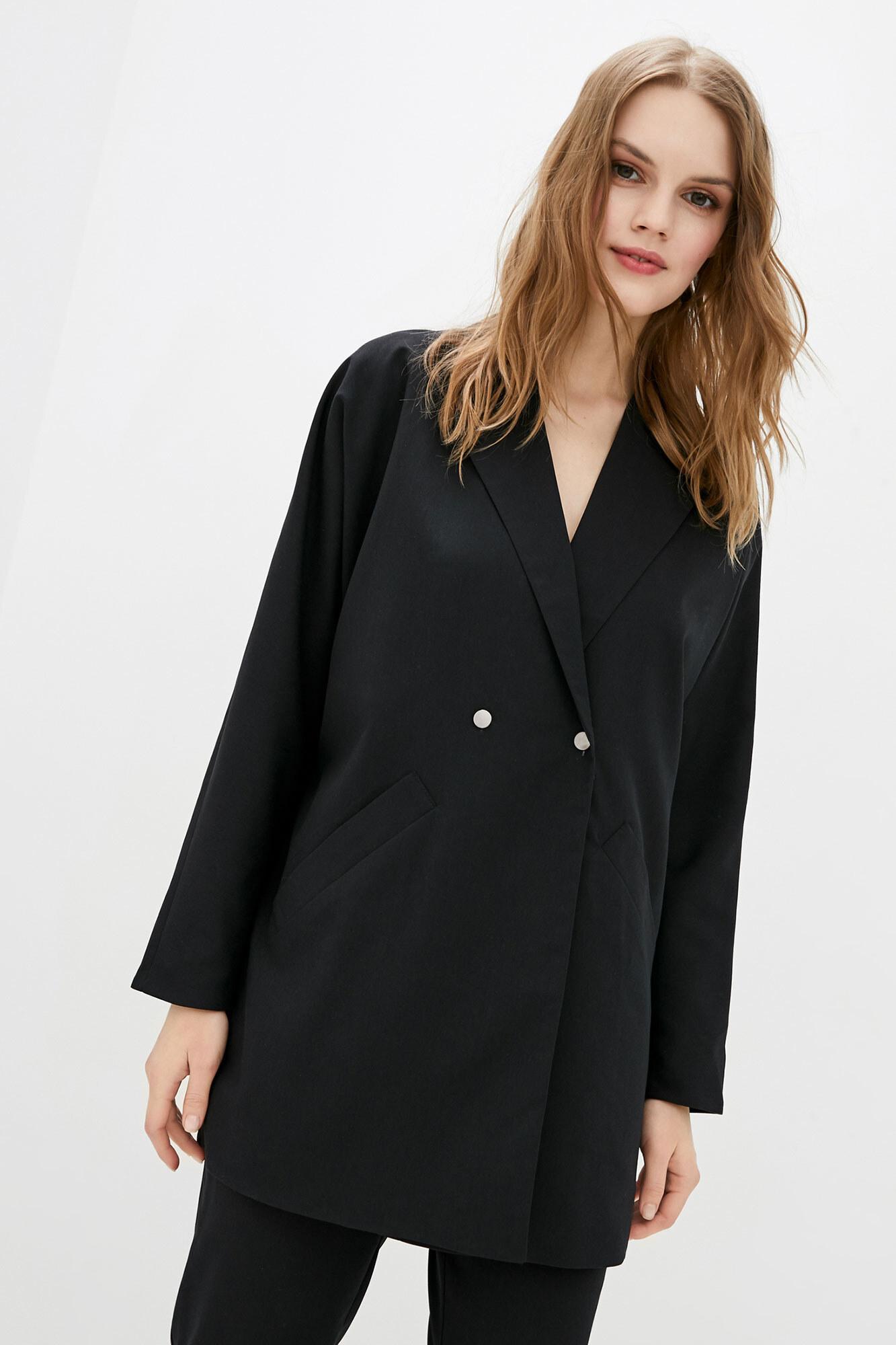 Черный пиджак оверсайз длинный на пуговицах GEN