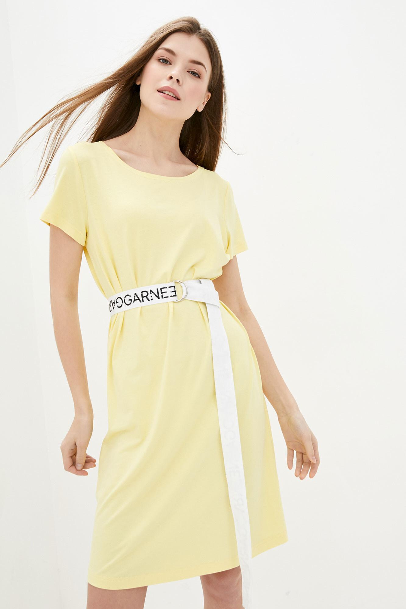 Желтое спортивное платье-футболка с поясом GEN