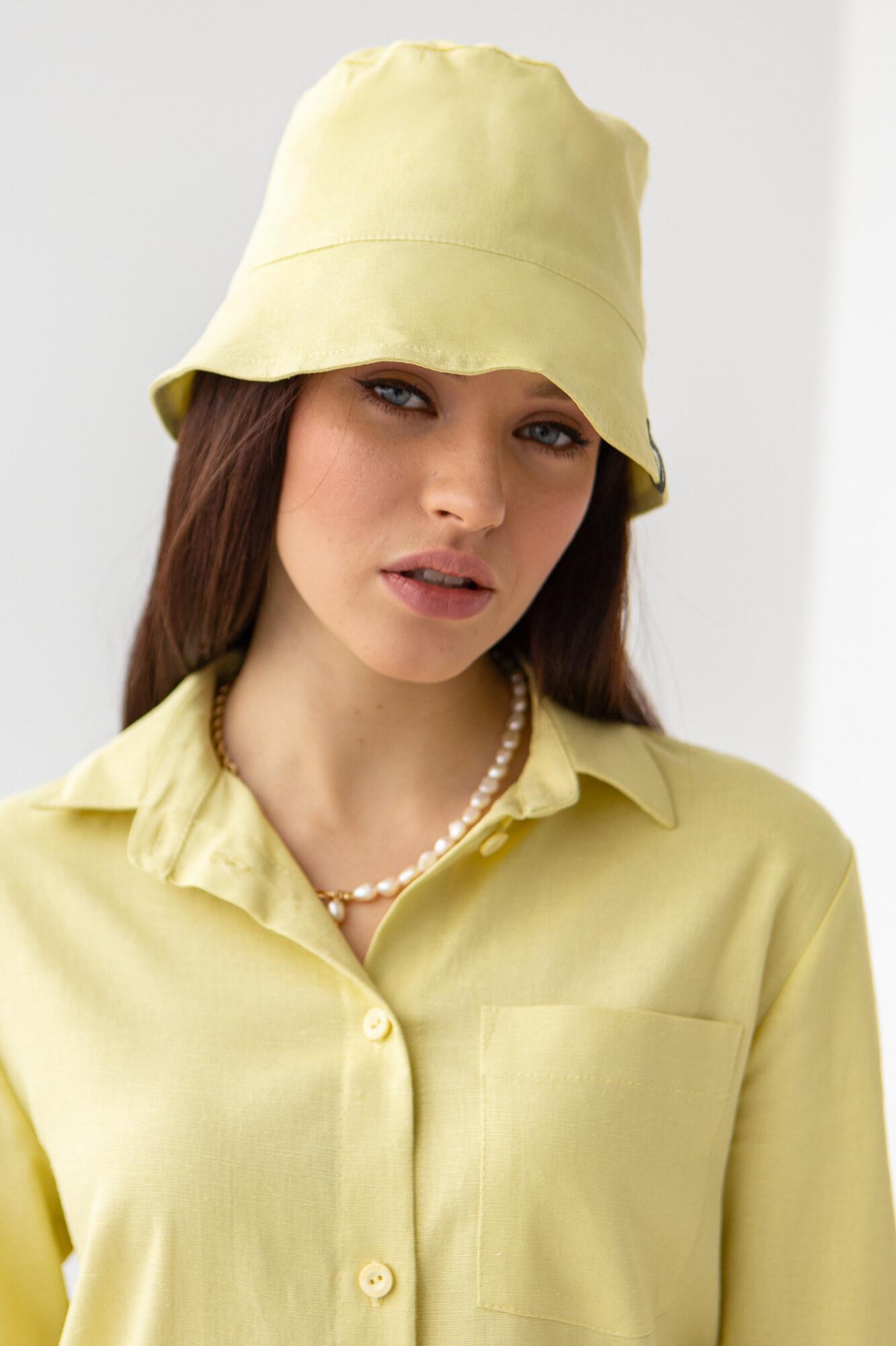 Тонкая панамка изо льна желтого цвета GEN